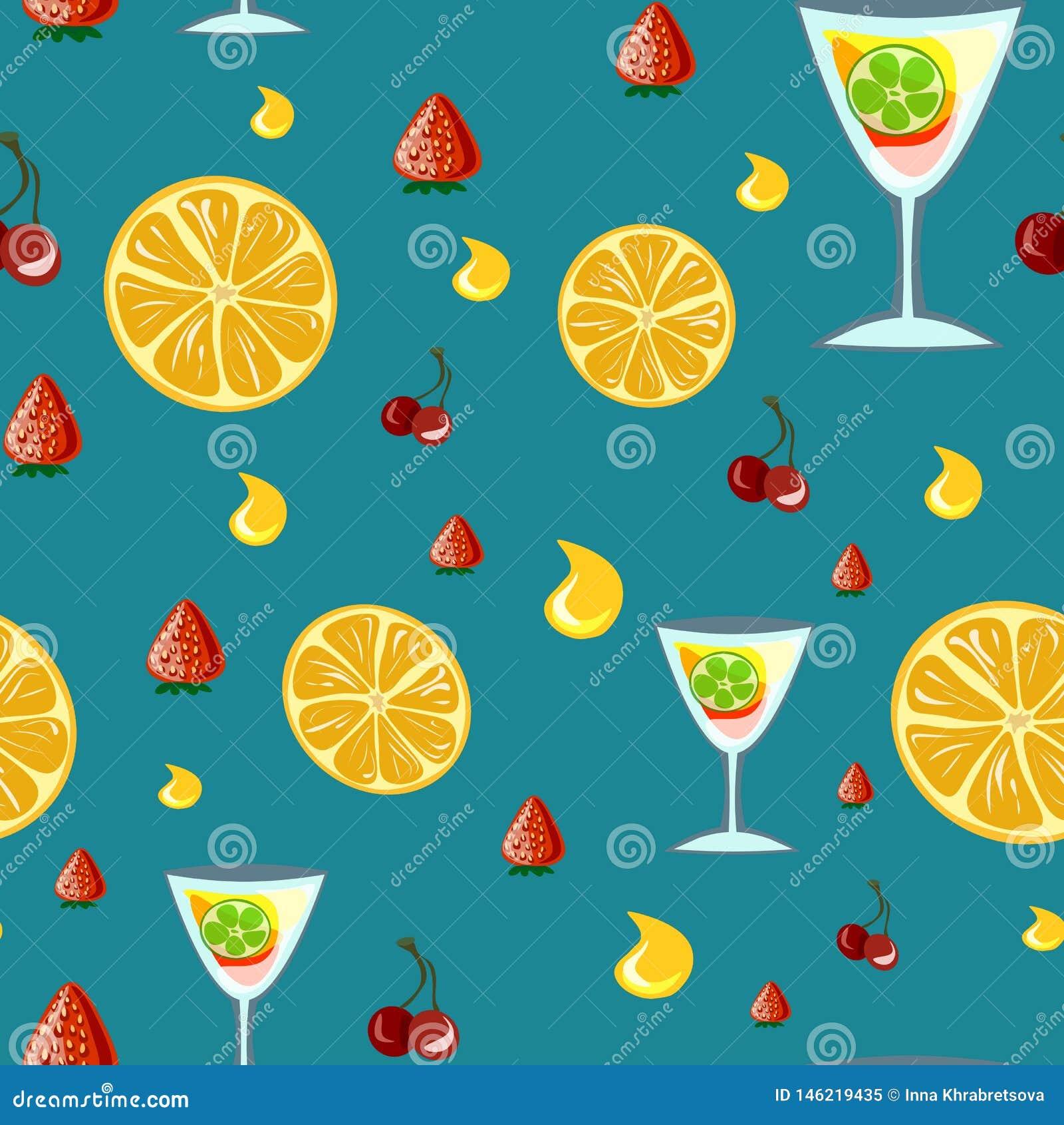 Bevande dell alcool e modello senza cuciture dei cocktail nello stile piano