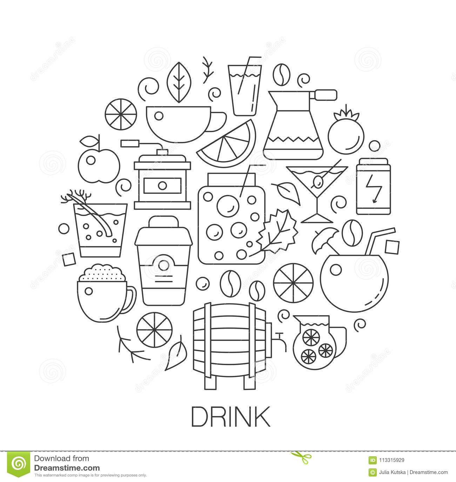Bevande nel cerchio - illustrazione al tratto di concetto per la copertura, emblema, distintivo Alcool, linea sottile icone del c
