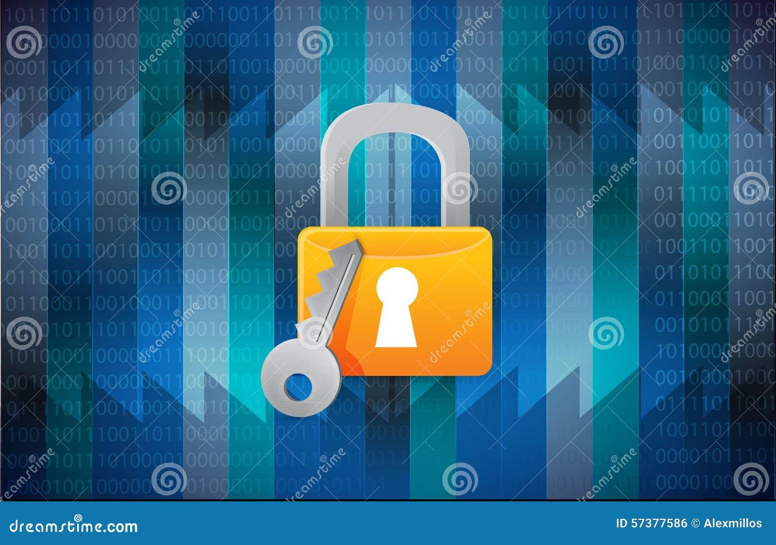 Beveilig slot over een binaire achtergrond