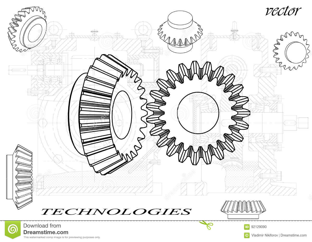 Bevel Gear On A White Background  Stock Vector