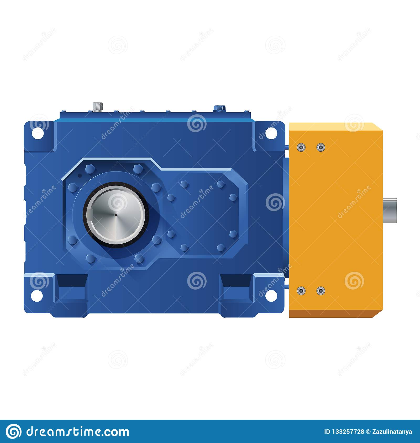 Bevel-helical Gearbox With Cooling  Vector Illustration  For