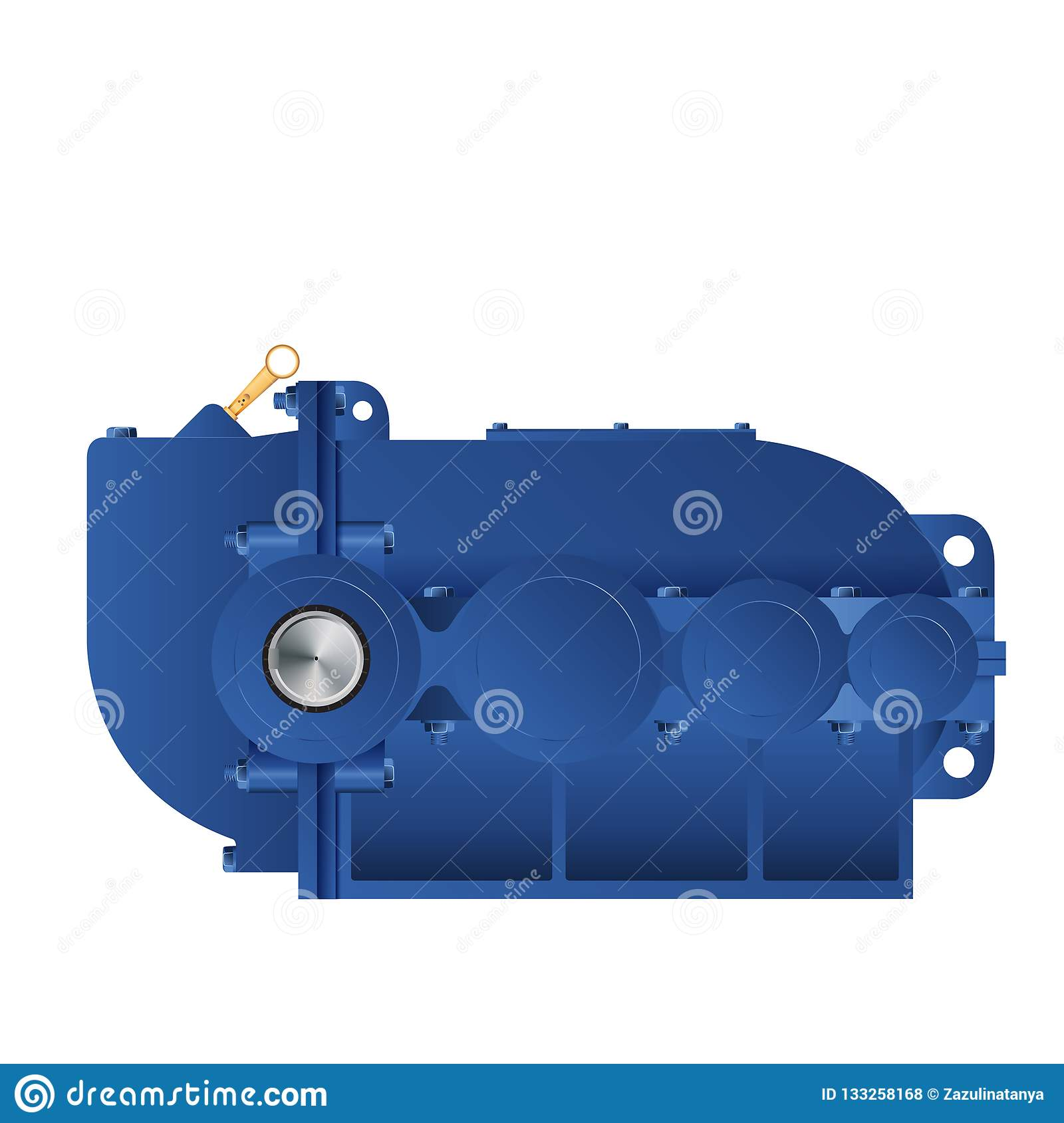 Bevel-helical Gearbox Vector Illustration  For Catalogs  Vector