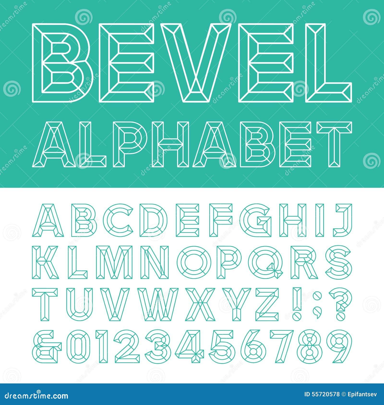 Beveled Alphabet Vector Font Stock