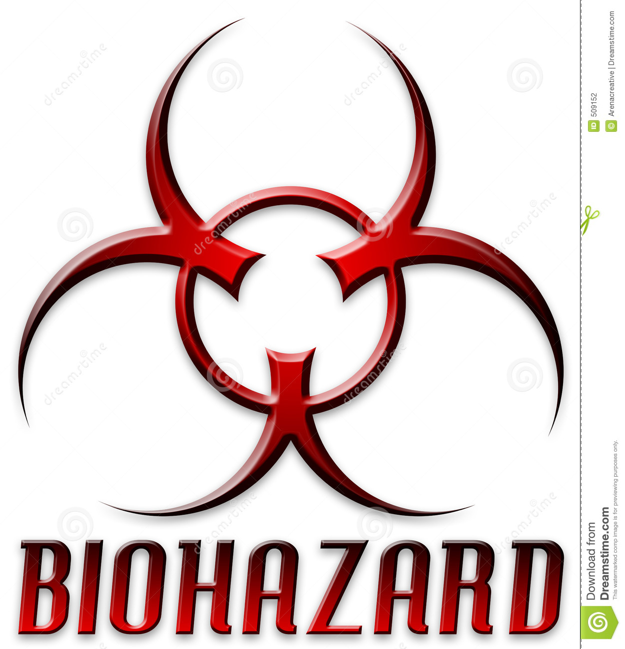 Beveled Red Biohazard Symbol Stock Illustration Illustration Of