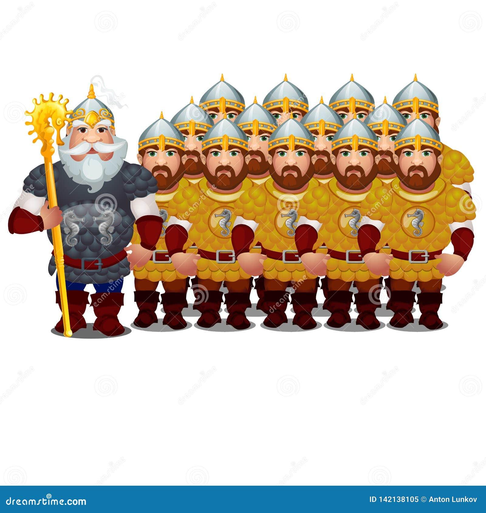 Bevelhebber met leger van epische helden van Russische folklore en volksdieverhalen op witte achtergrond wordt geïsoleerd Vector