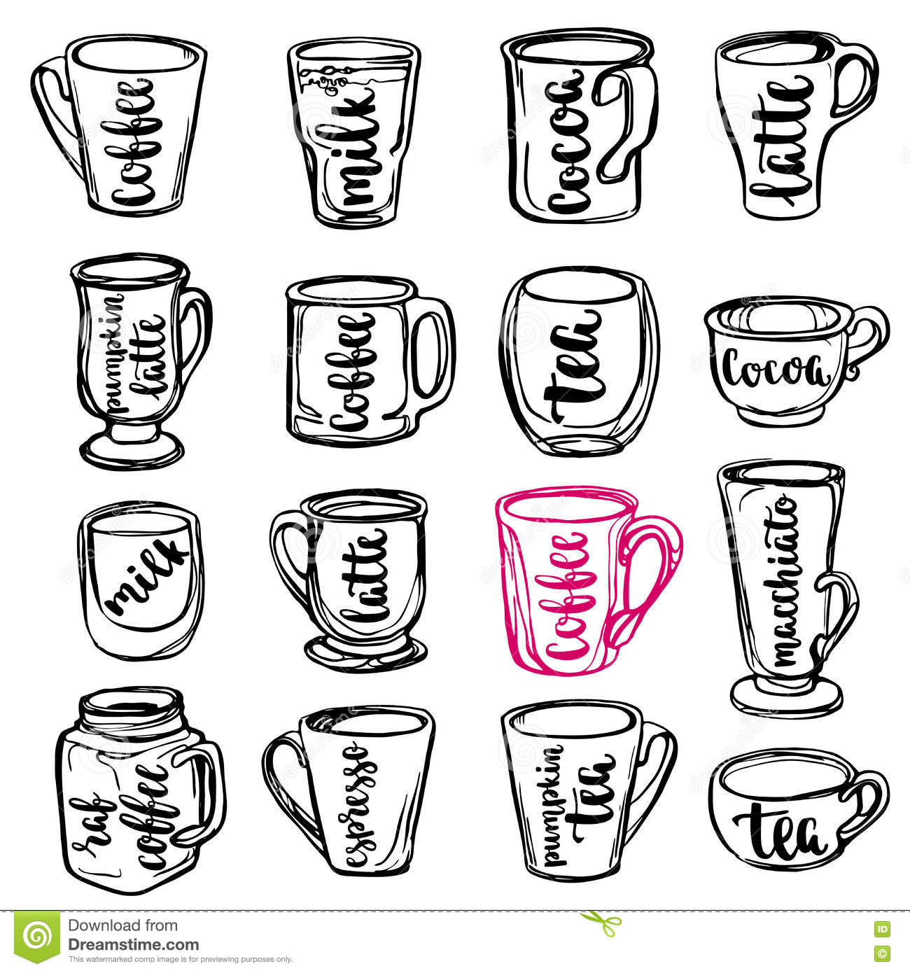 Beverages Calligraphy And Lettering On Line Art Cups Vector Illustration Of Cups Mugs And Glasses Stock Vector Illustration Of Cafe Chalk 82286167