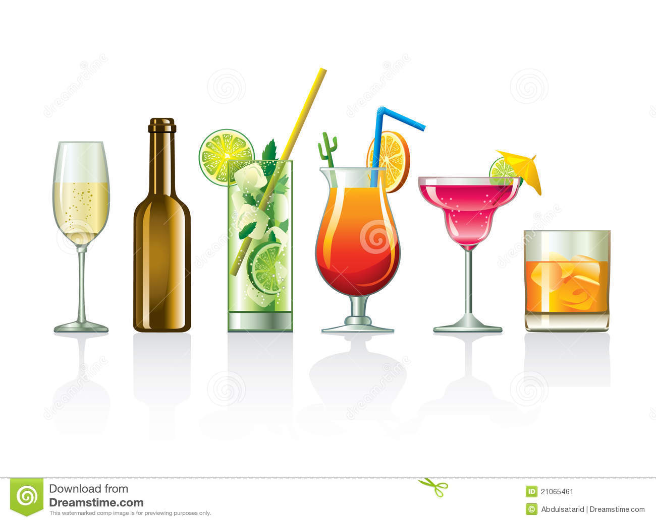 Illustration of different cocktails and other beverages in different ...