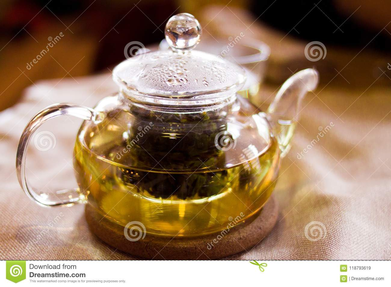 Beverages Good Morning And Breakfast Concept Cup Of White Green Tea And Teapot On The Table Stock Image Image Of Afternoon Fruit 118793619