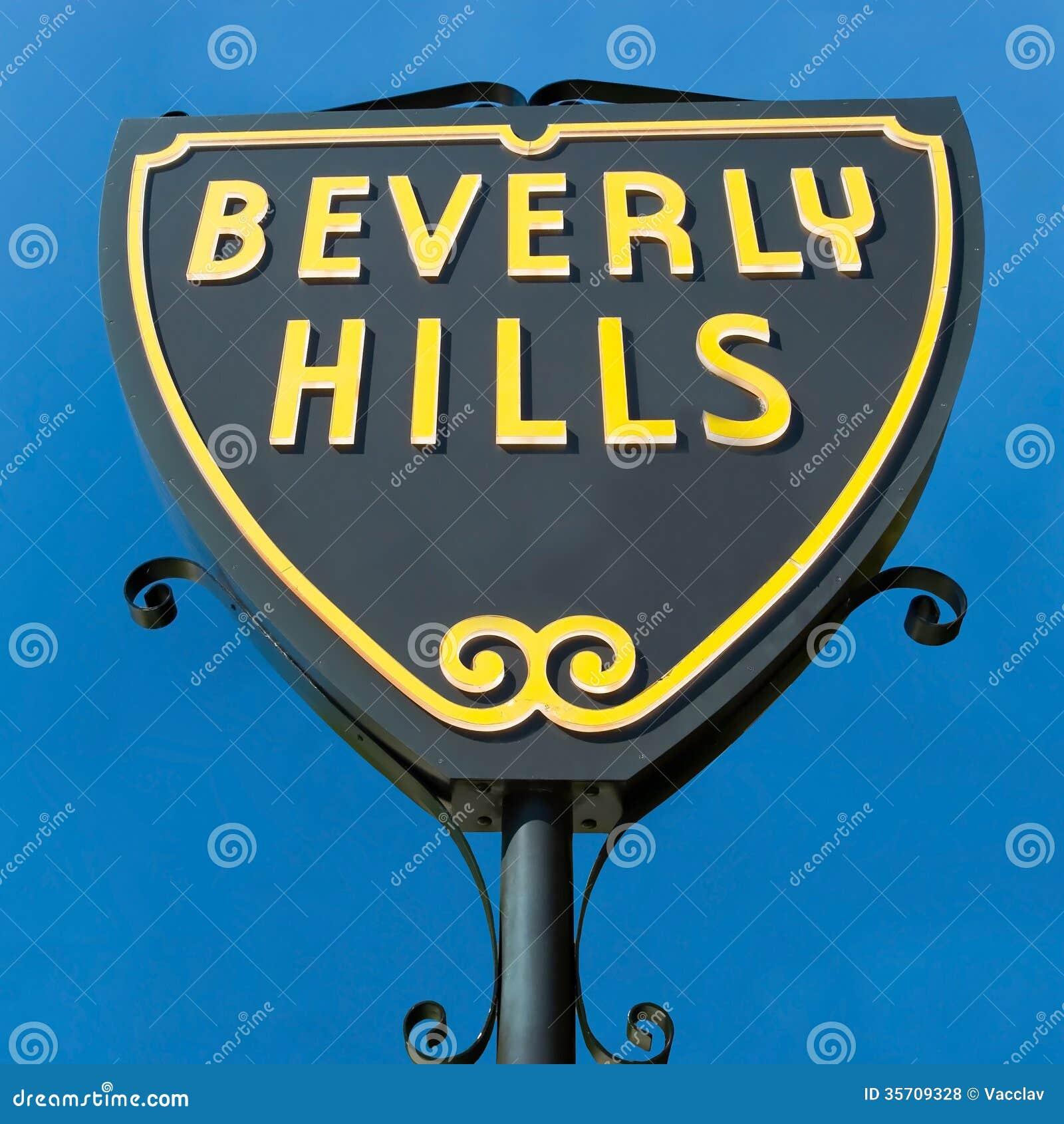 Beverly Hills firma dentro la vista del primo piano di Los Angeles