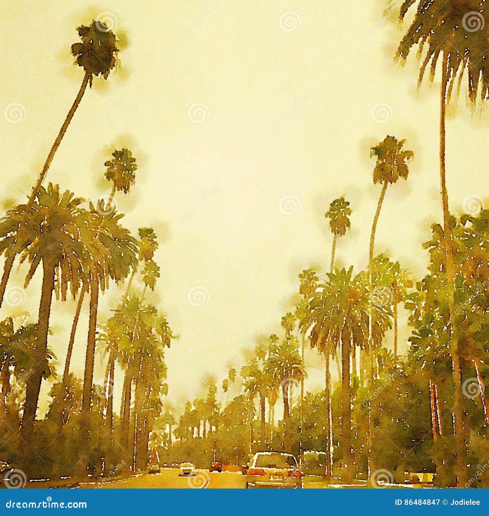 Beverly Hills Los Angeles estilizó escena de la calle de la acuarela