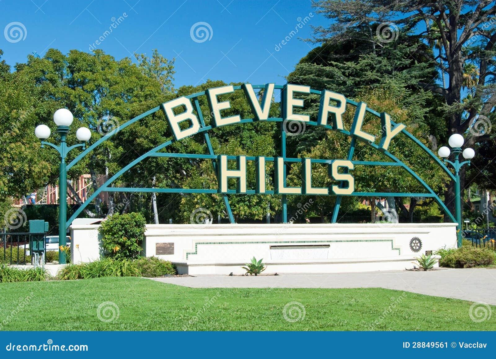 Beverly Hills signent dedans le stationnement de Los Angeles