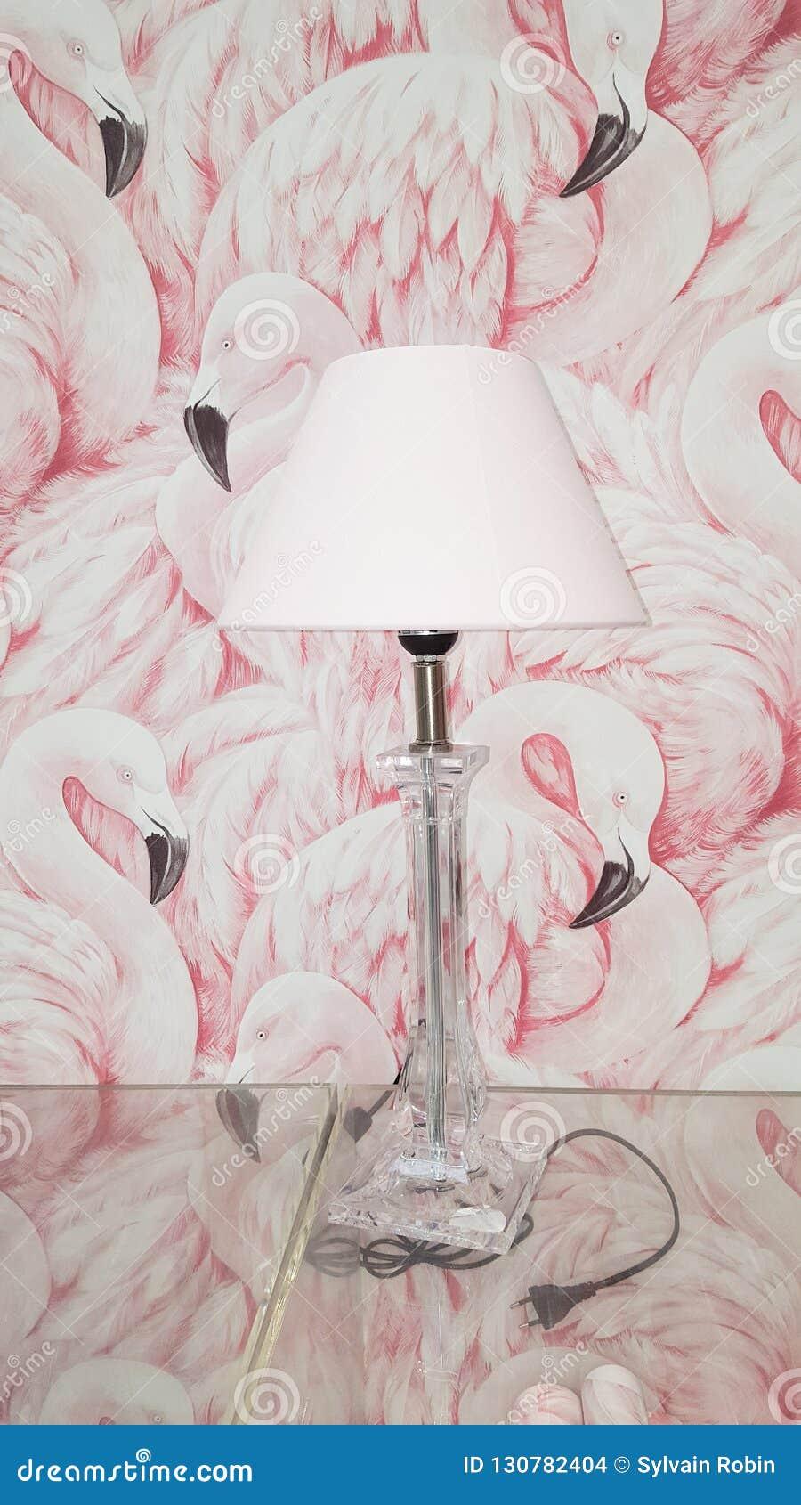 Bevindende die lamp voor een flamingomuur wordt gesteld