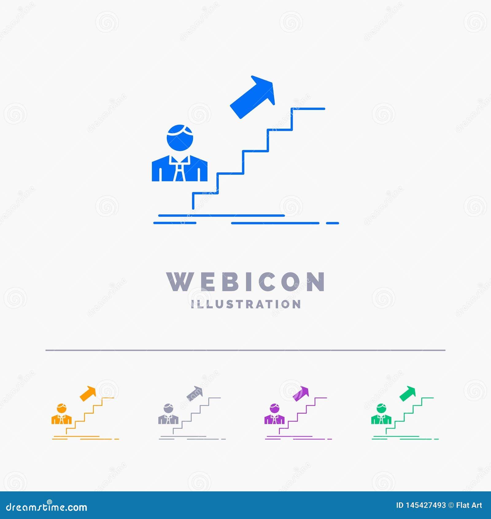 Bevordering, Succes, ontwikkeling, Leider, carrière 5 het Malplaatje van het het Webpictogram van Kleurenglyph op wit wordt geïso