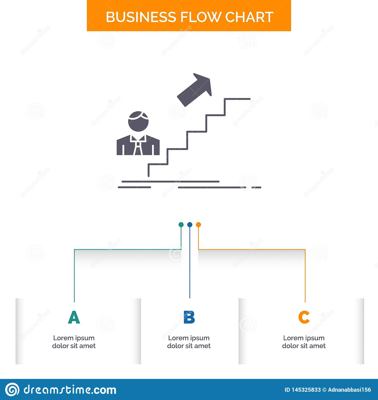 Bevordering, Succes, ontwikkeling, Leider, het Ontwerp carrière van de Bedrijfsstroomgrafiek met 3 Stappen Glyphpictogram voor Pr