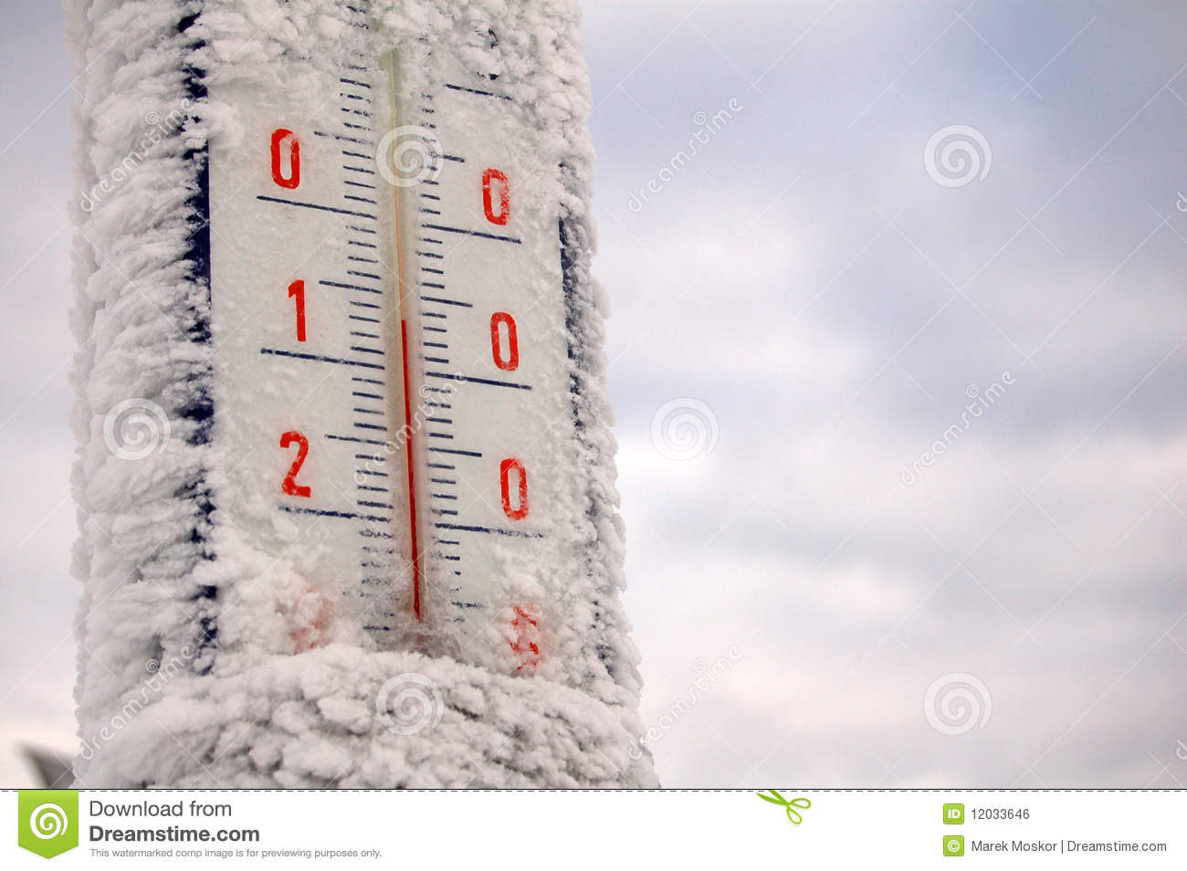 Bevroren thermometer royalty vrije stock afbeelding for Thermometres exterieurs