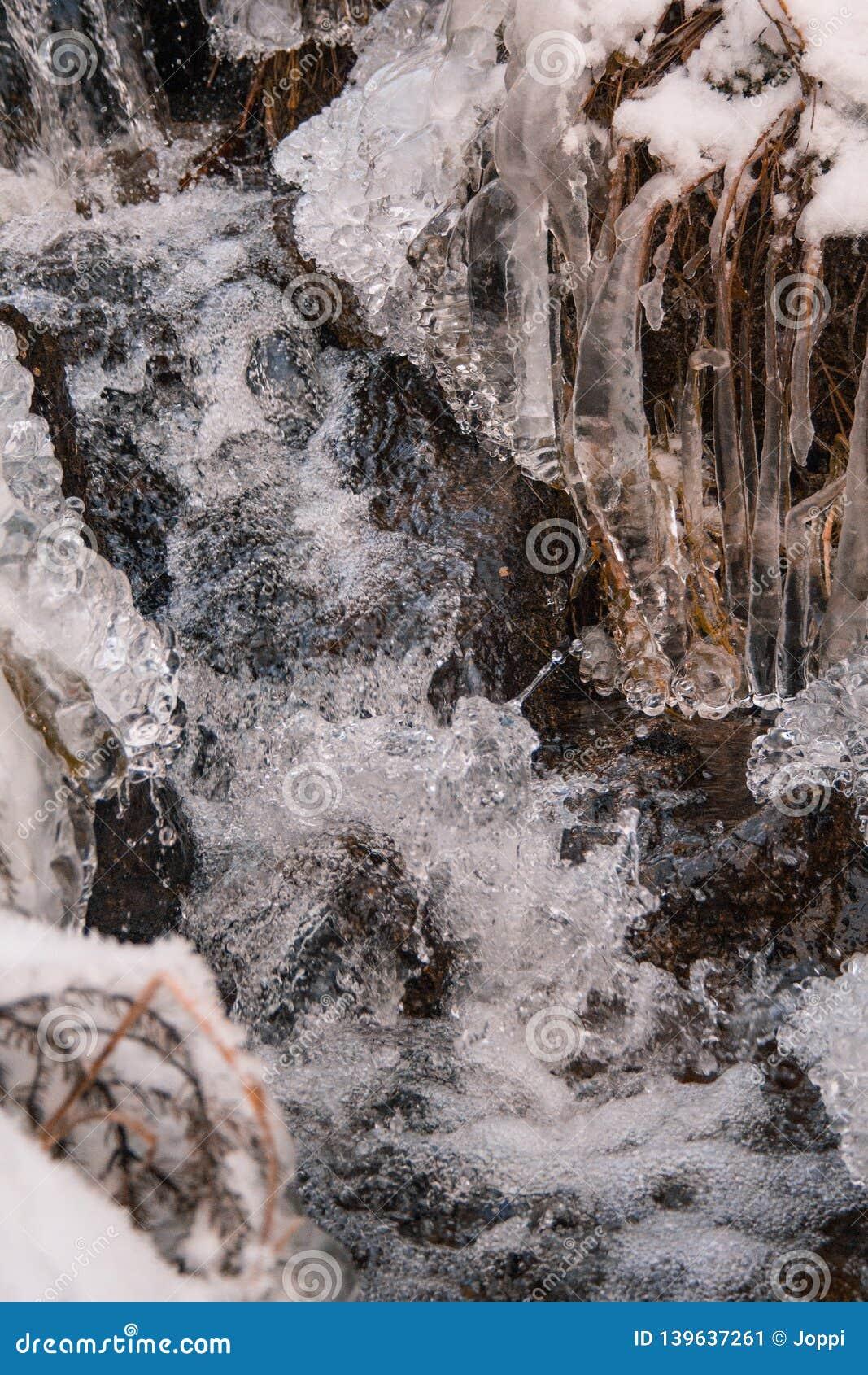 Bevroren weinig waterstroom in de winterlandschap