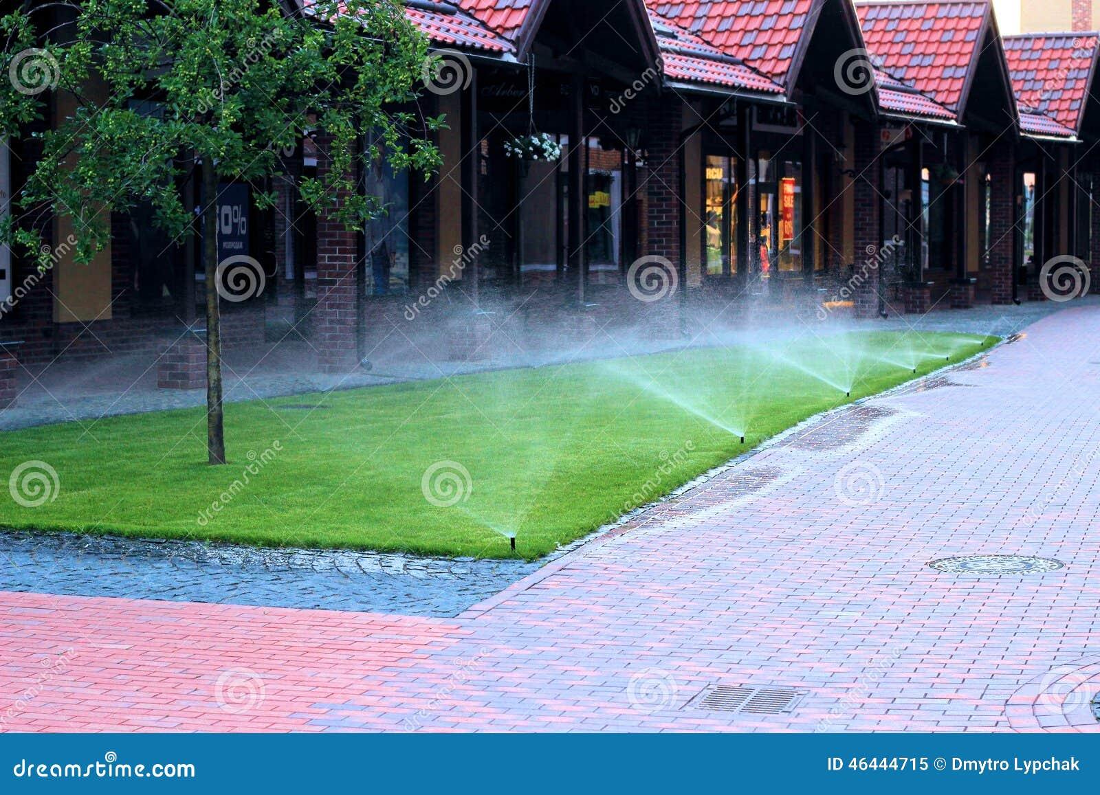 Rasen Bewässerungssystem bewässerungssystem das den rasen wässert stockbild bild 46444715
