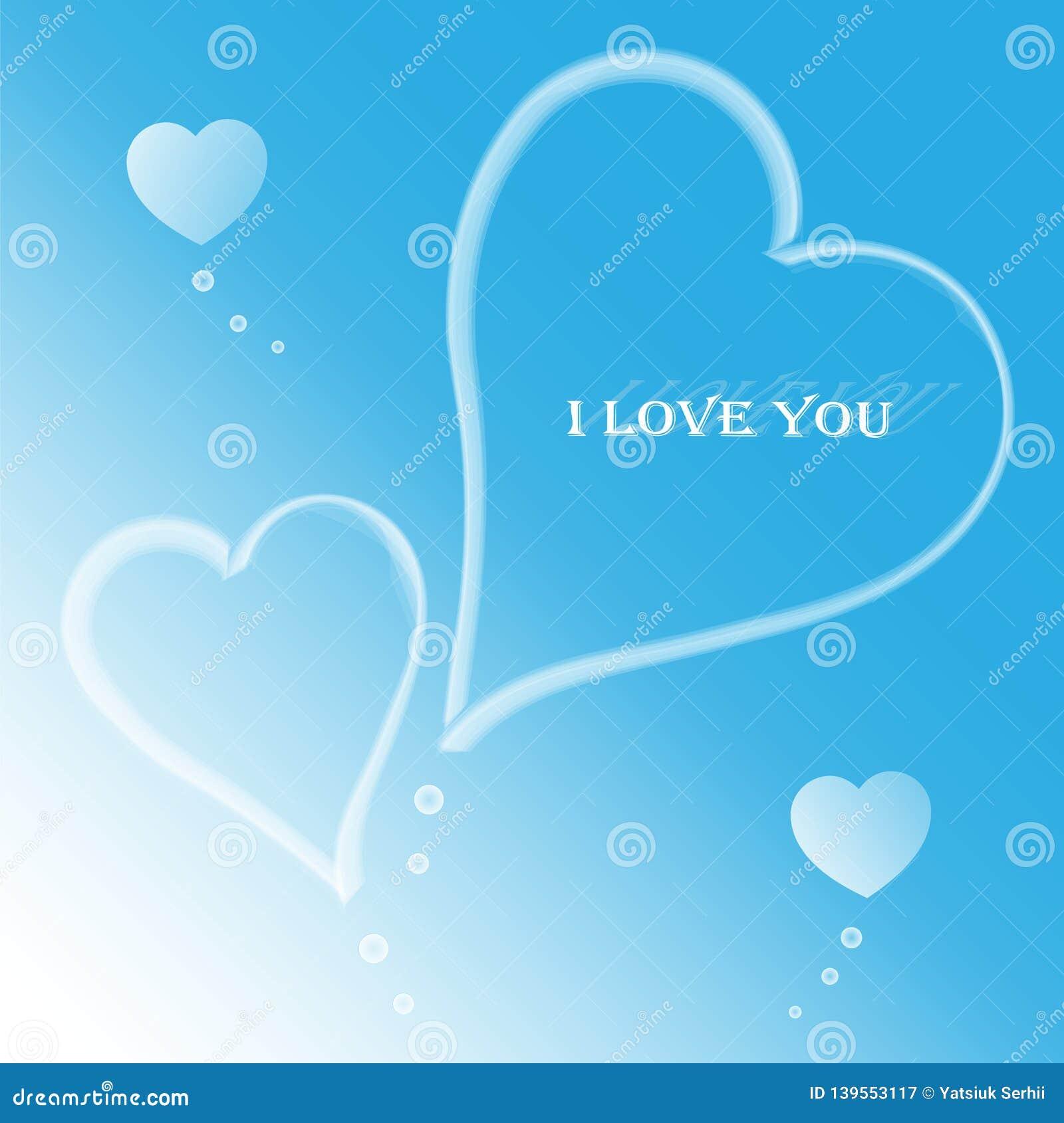 Bewölkte Herzen auf einem leichten blauen Hintergrund