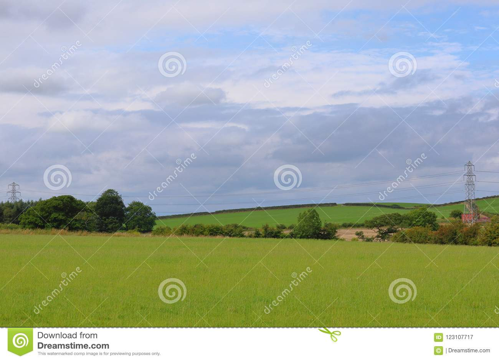Bewölkter Himmel über dem Feld