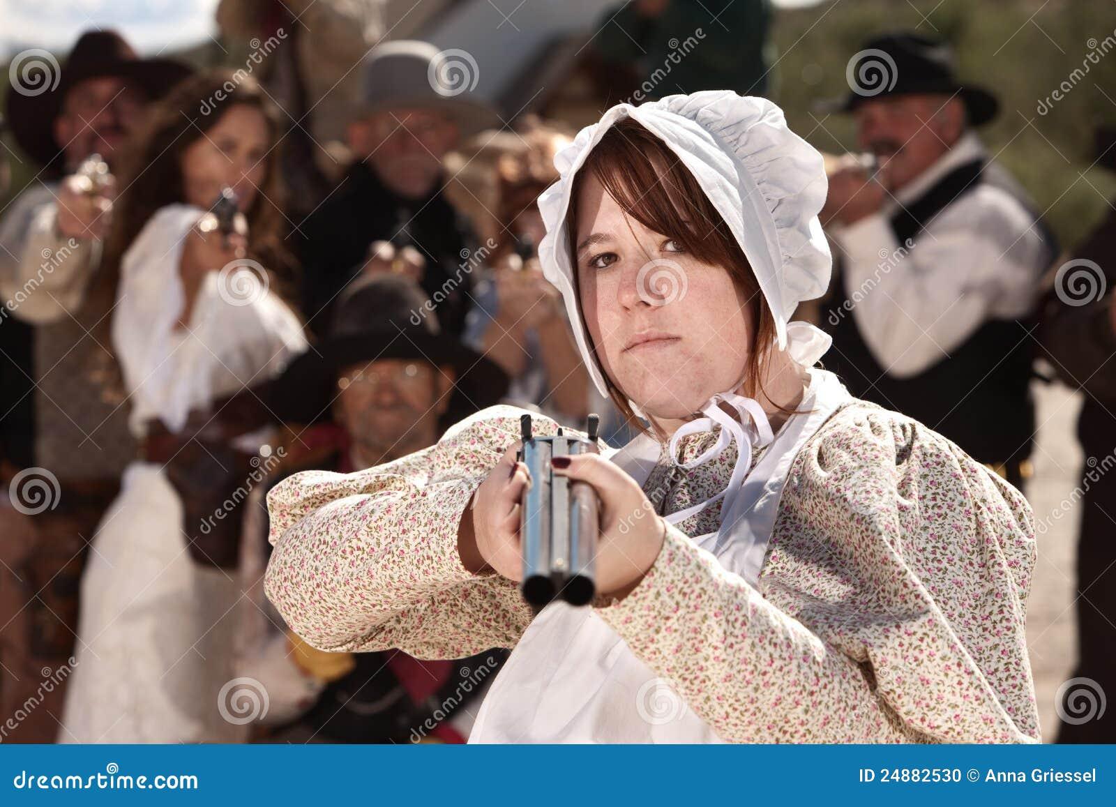 Bewapend Meisje in Bonnet