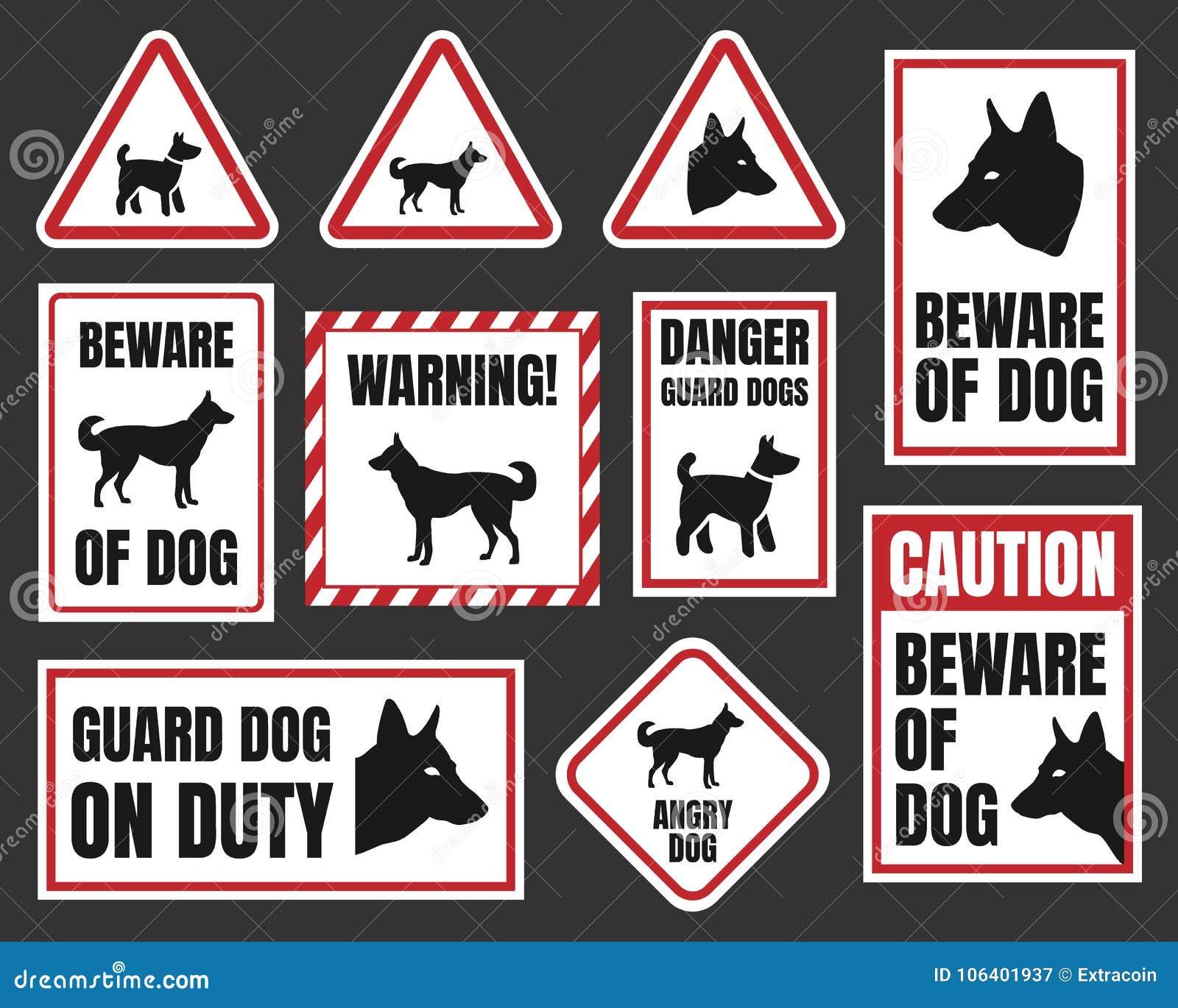 Danger Dog Signs Beware Of Dog Stock Vector Illustration Of