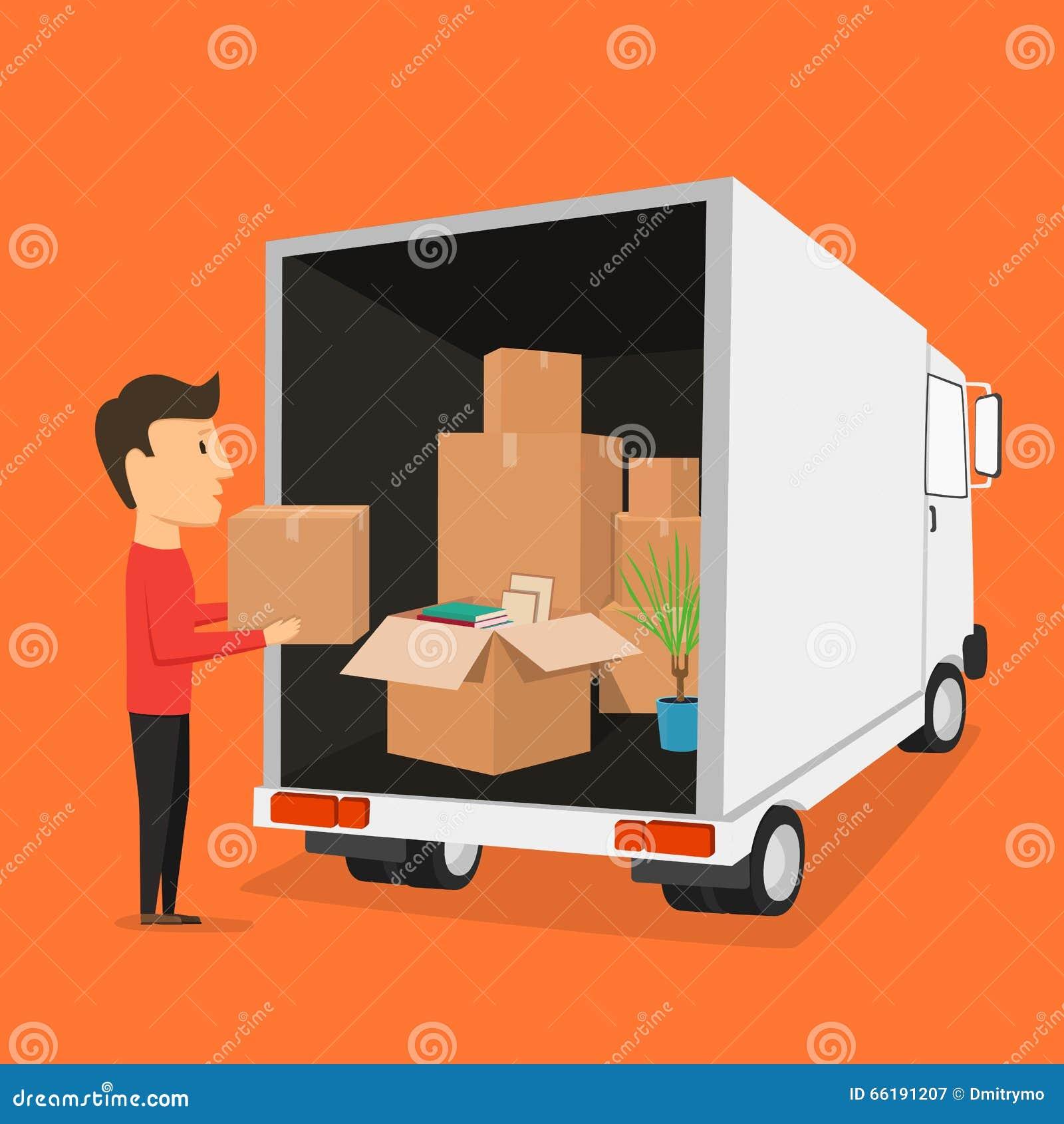 Bewegen mit Kästen Sachen im Kasten Transportunternehmen