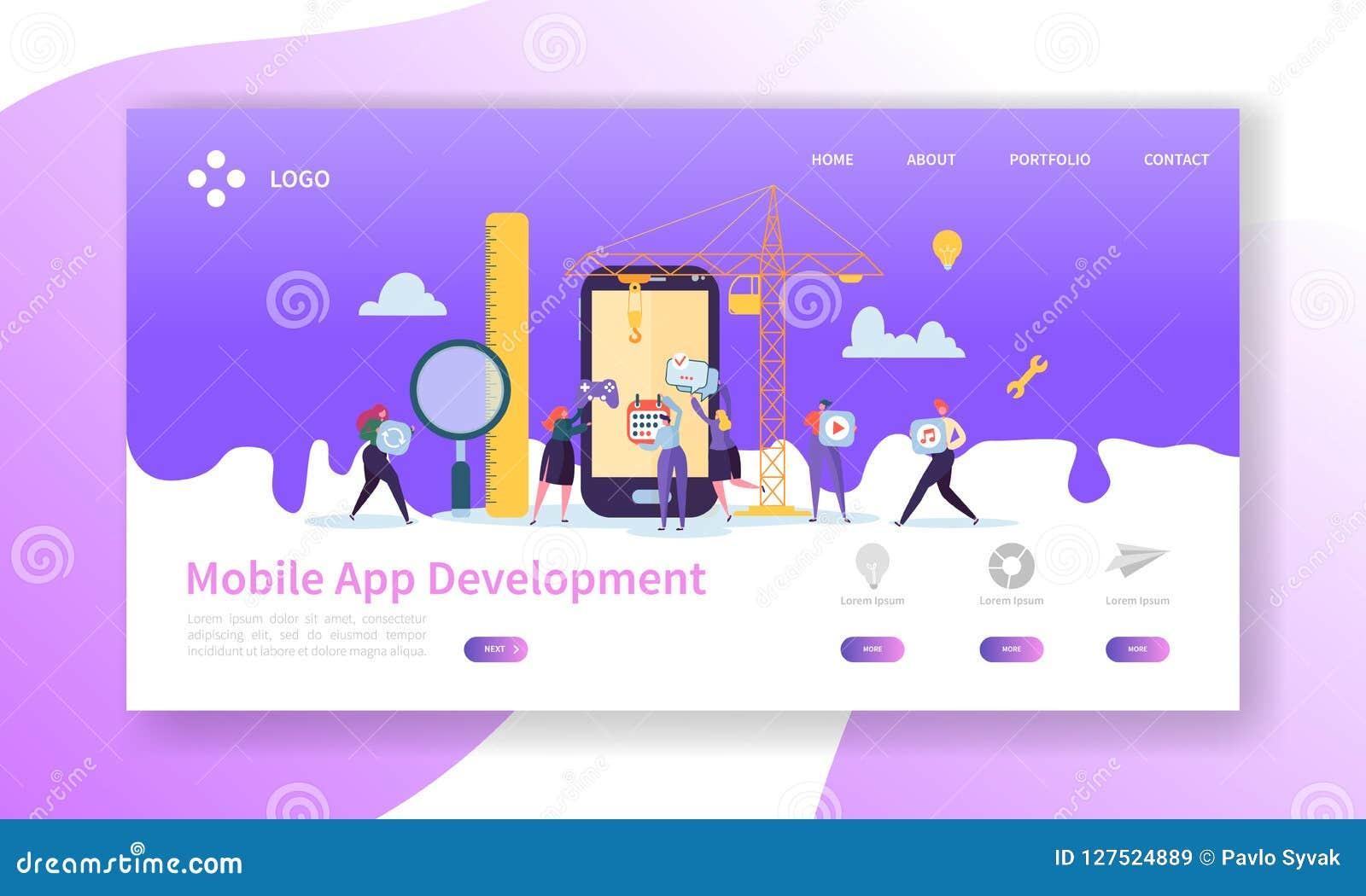 Bewegliche Anwendungsentwicklungs-Landungs-Seite Kodierungs-Technologie mit flacher Leute-Charakter-Website-Schablone