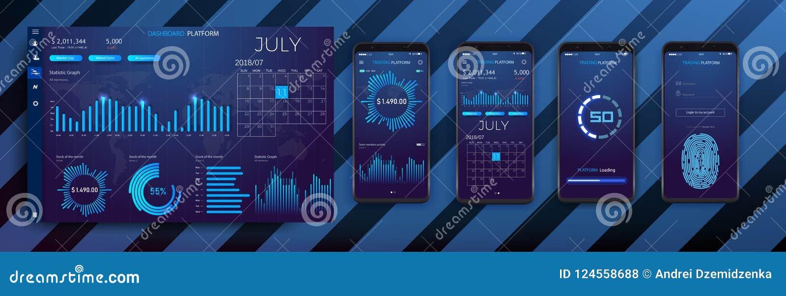 Bewegliche infographic Schablone APP mit den wöchentlichen und jährlichen Statistikdiagrammen des modernen Designs