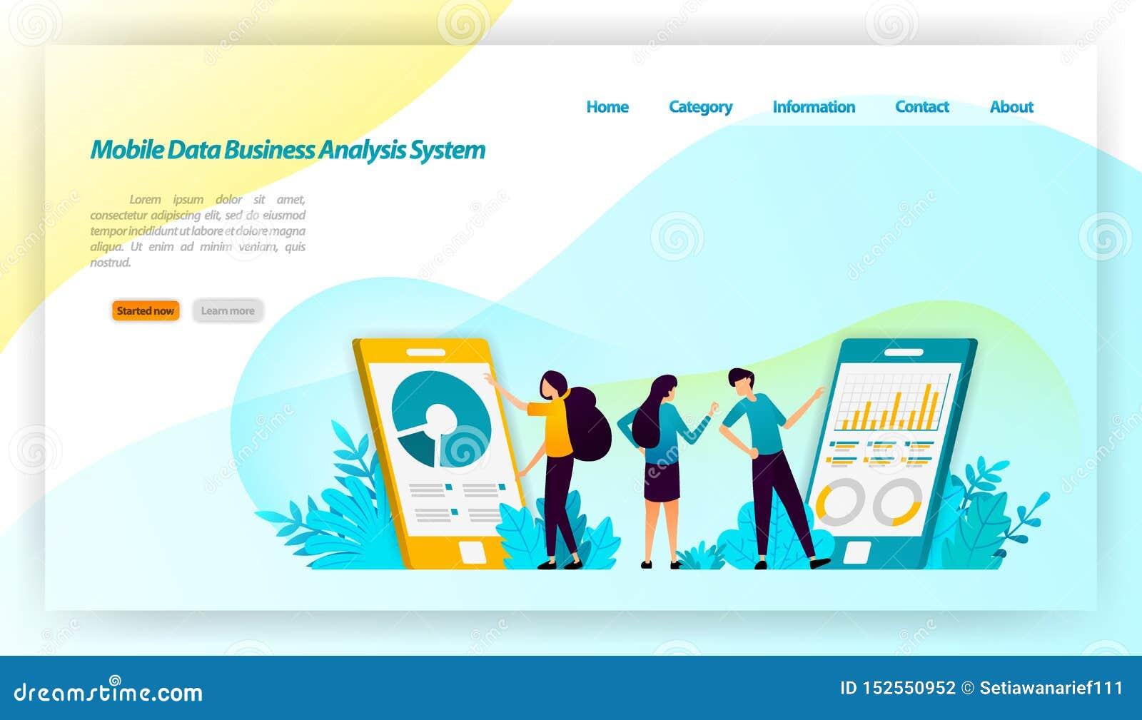 Bewegliches Datenwirtschaftsanalytikersystem für Anwendungen mit Finanz- und des Geschäfts isometrischem Entwurf Vektorillustrati