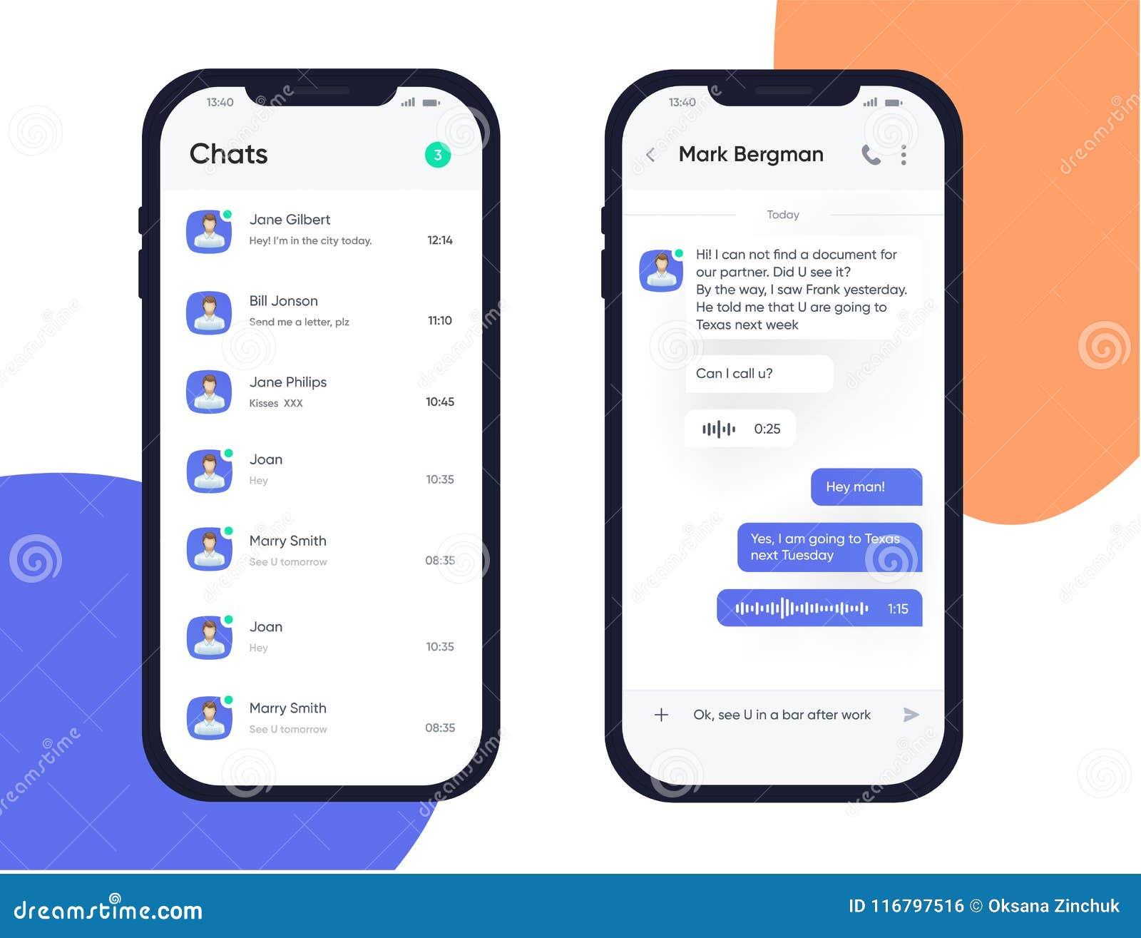 Bewegliches Konzept des Entwurfes UI UX Modische Chatbot-Anwendung mit Dialogfenster Plaudern Sie Kasten Sms-Bote Application