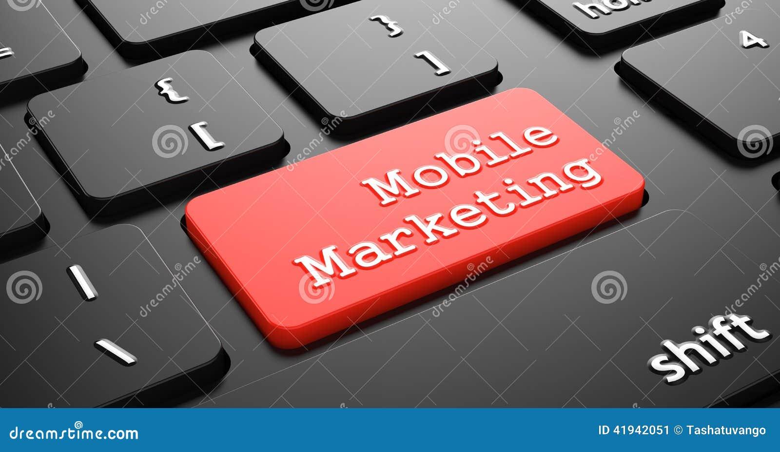 Bewegliches Marketing auf rotem Tastatur-Knopf