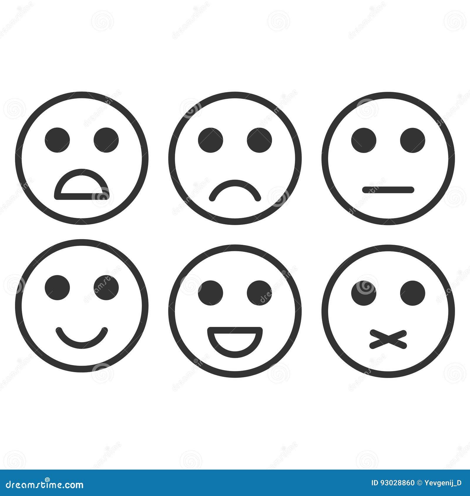 Bewertungs-Zufriedenheit Feedback in der Form von einfarbigen Gefühlen, smiley, emoji