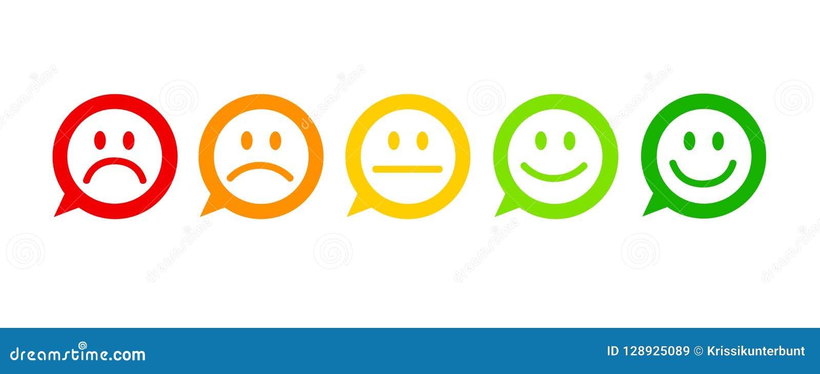 Bewertungs-Zufriedenheits-Feedback in der Form der ausgezeichneten guten normalen schlechten schrecklichen Spracheblase der Gefüh