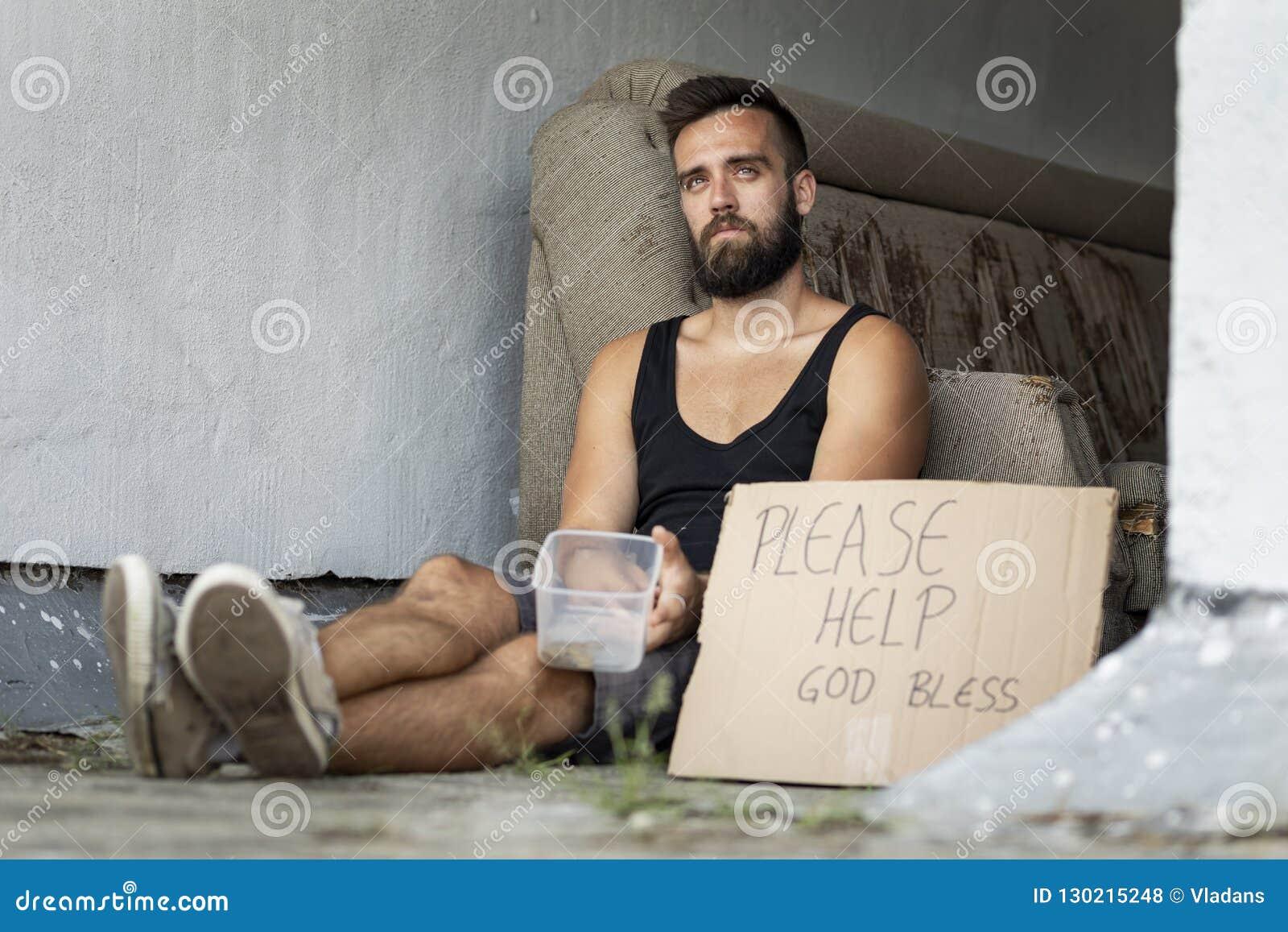 Bezdomny żebrak