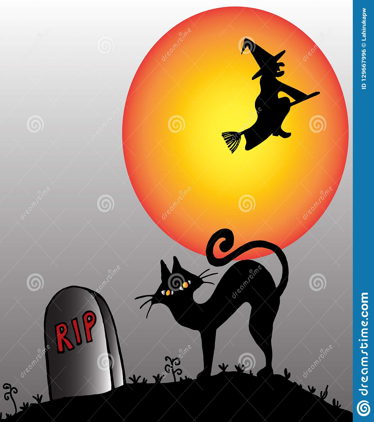 Bezem het berijden behekst en een kat in een kerkhof op een Halloween-nacht