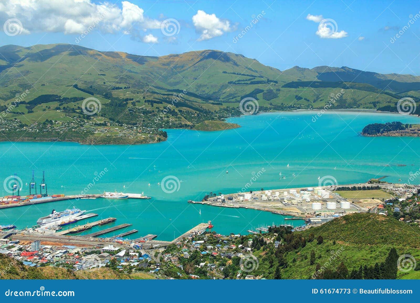 Bezige haven in de zomer Christchurch, Nieuw Zeeland