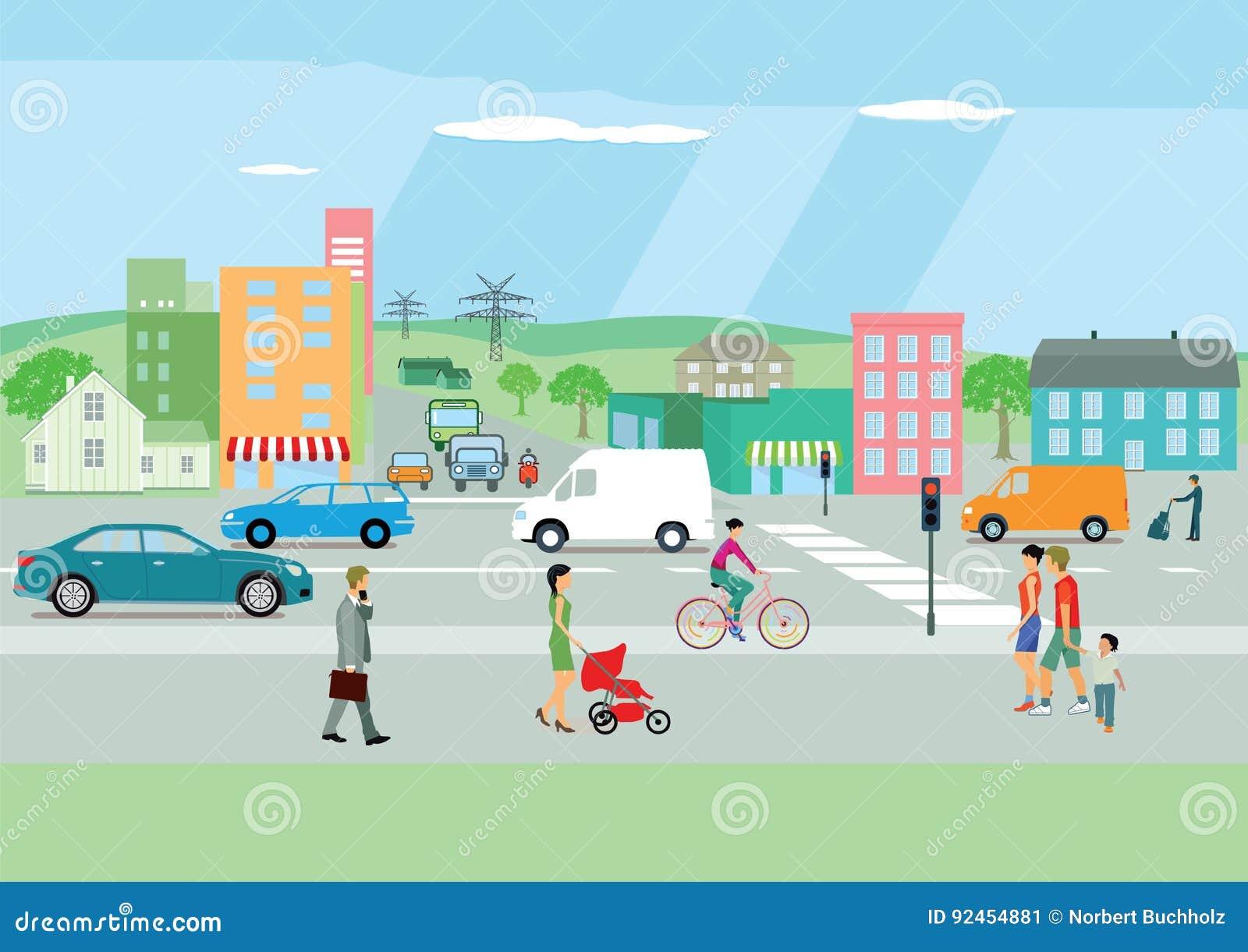 Bezige straat in een kleurrijke stad