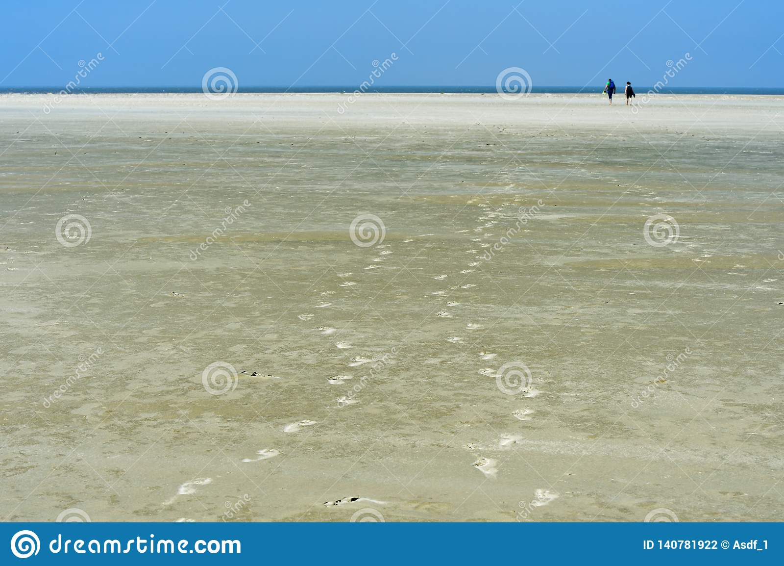 Bezoekers die over mudflats lopen