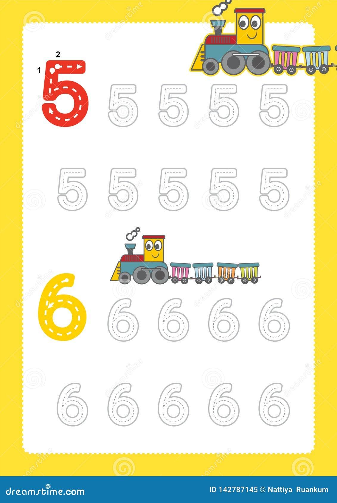 Bezpłatne handwriting strony dla pisać liczą uczenie liczby, Liczą kalkowania worksheet dla dziecina z taborowym kreskówka pociąg