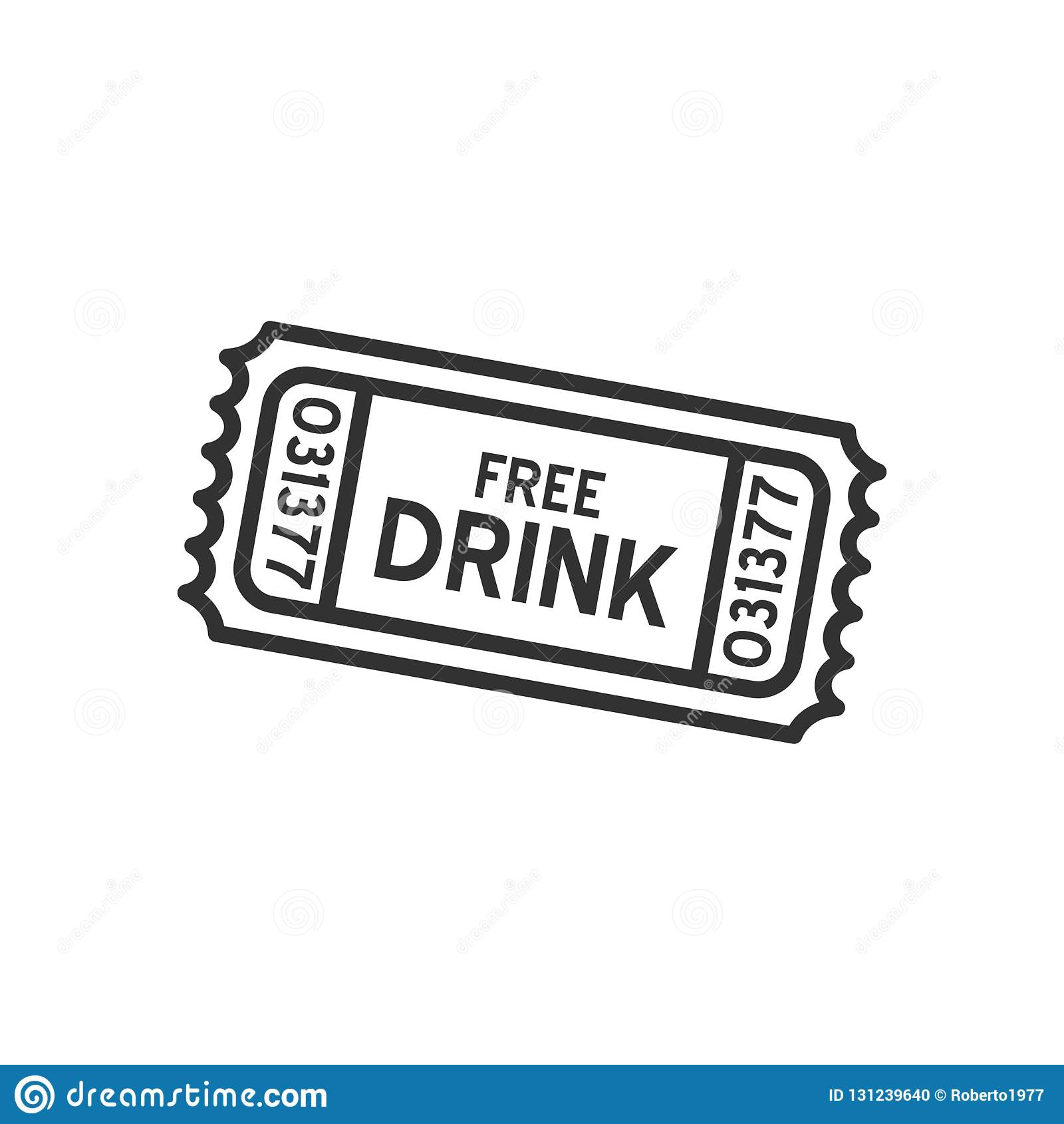 Bezpłatnego napoju Biletowego konturu Płaska ikona na bielu