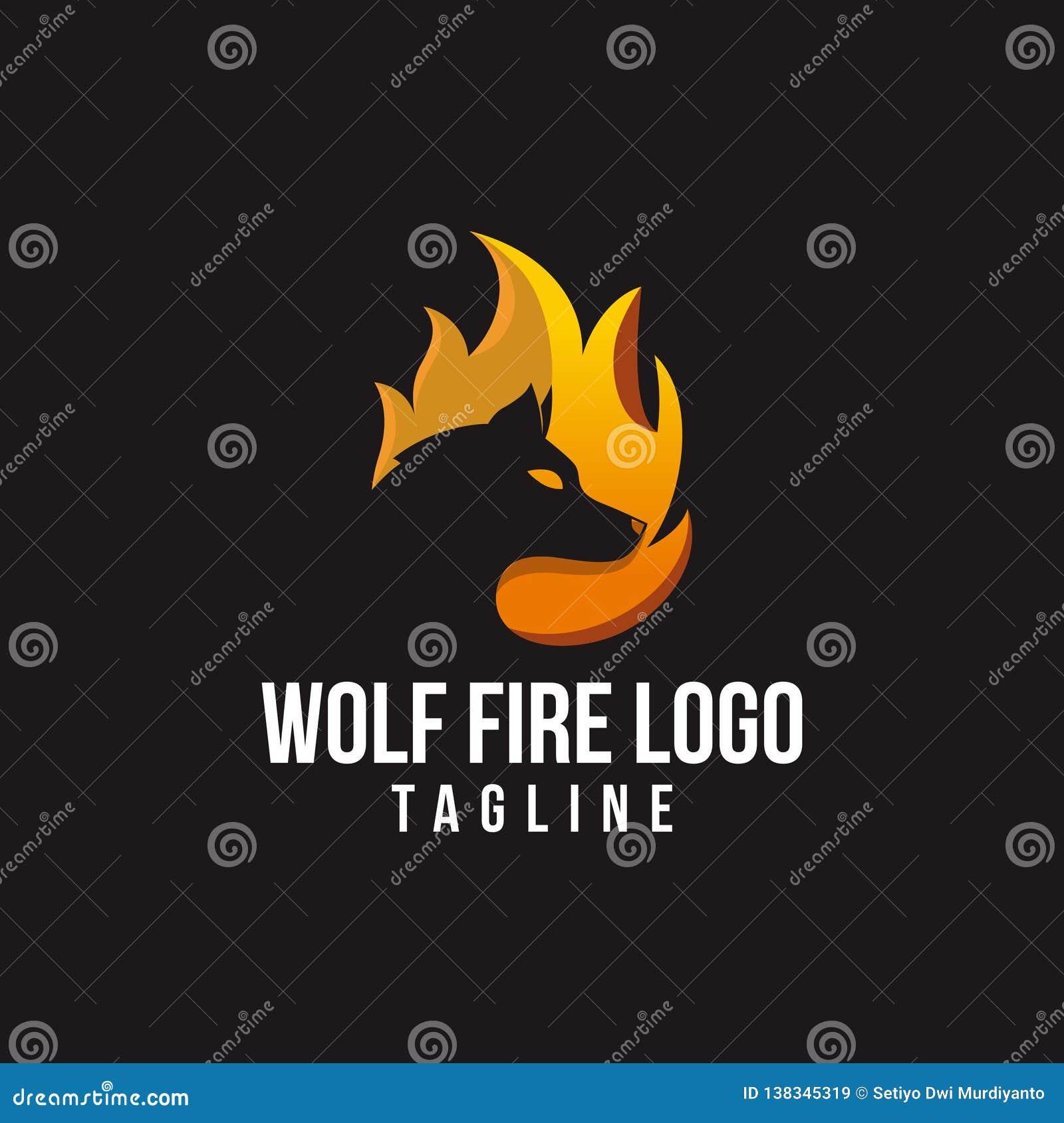 Bezpłatny wilka ogienia logo wektor