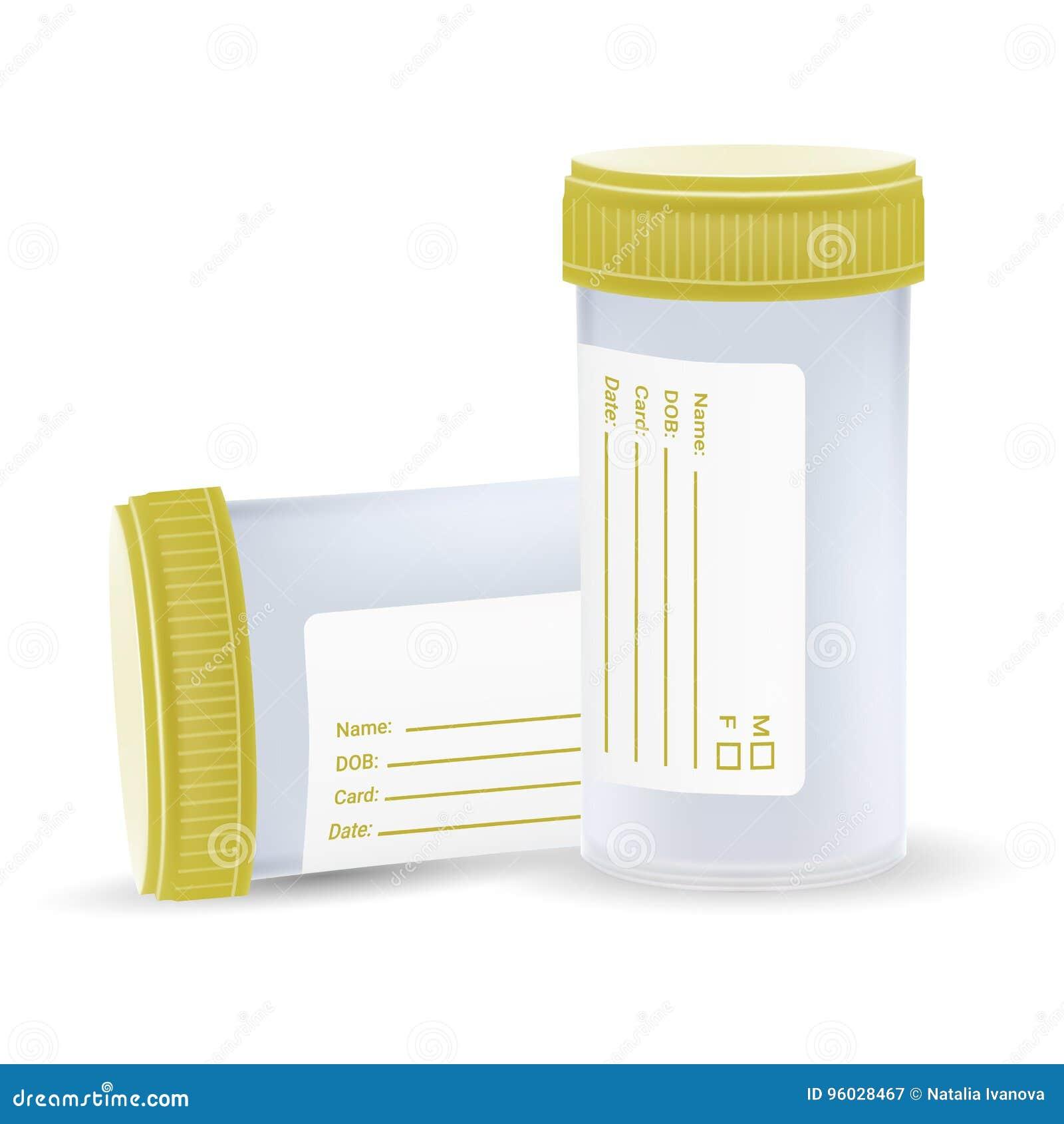 Bezpłodny Plastikowy zbiornik Dla Medycznego Analizuje Na Białym tle Realistyczna wektorowa ilustracja