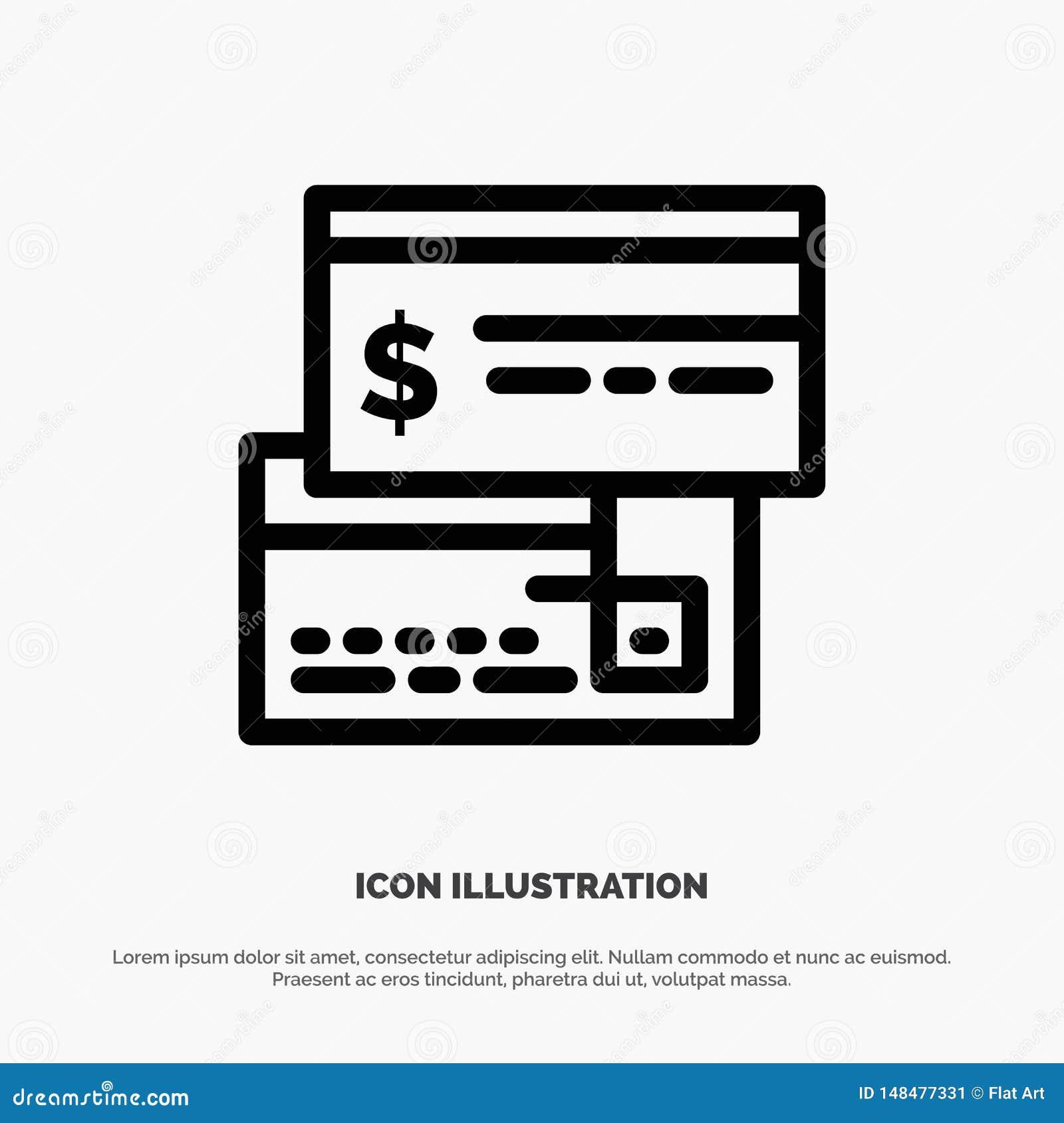 Bezpośrednia zapłata, karta, kredyt, debet, Bezpośredniej linii ikony wektor