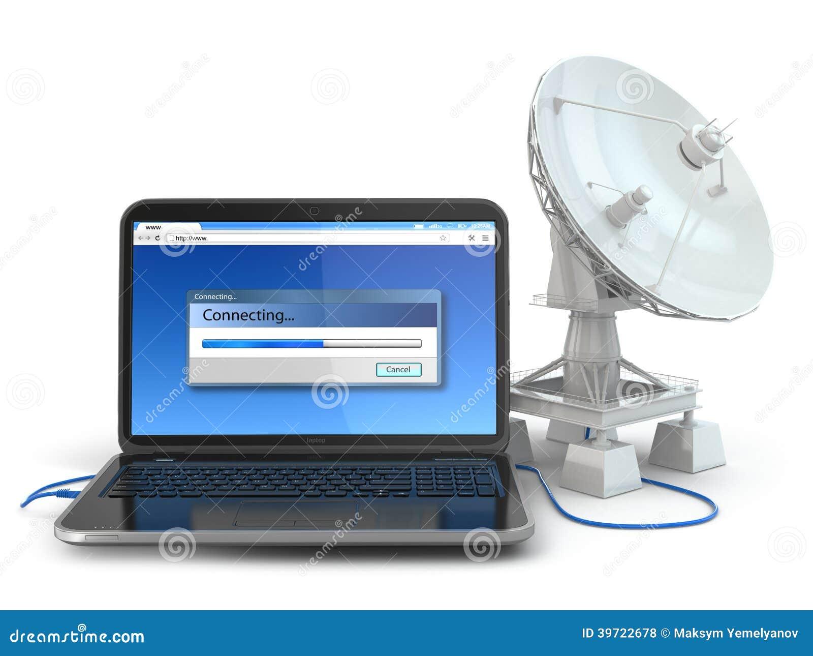 Bezprzewodowy interneta pojęcie.  Laptop i antena satelitarna.
