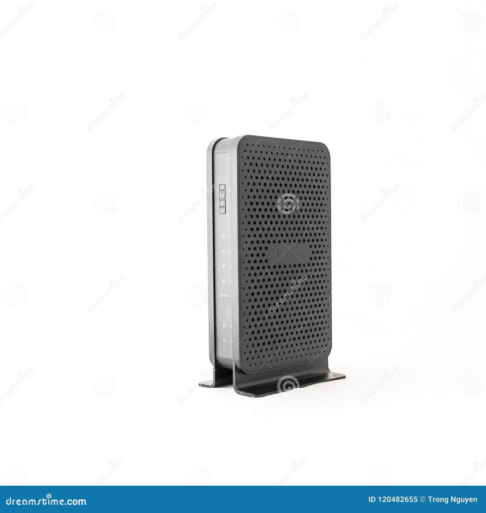 Bezprzewodowy routera modem kablowy odizolowywający na bielu