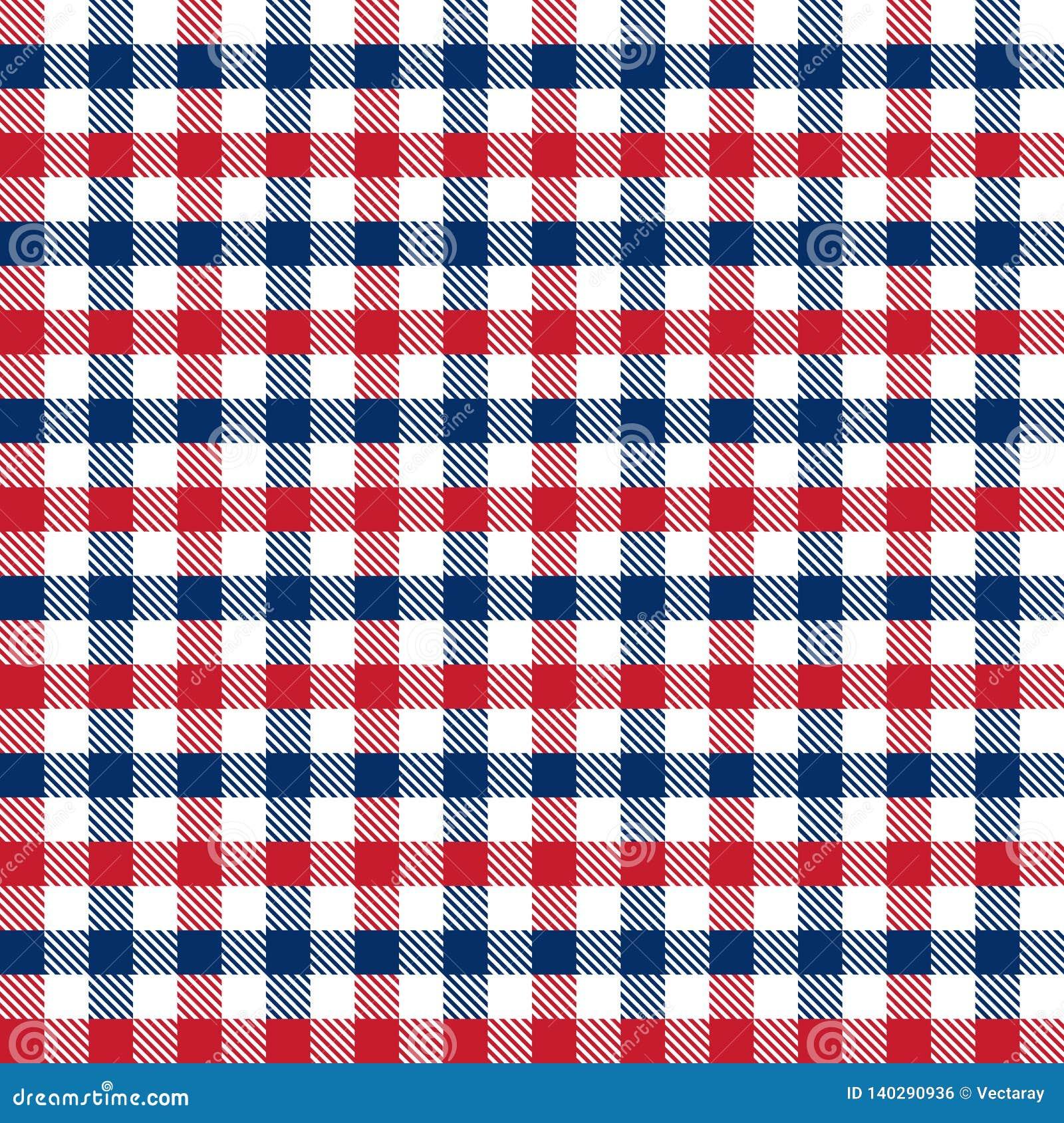 Bezszwowa czerwień 4th i błękit Lipa dnia niepodległości gingham czeka wzoru tło