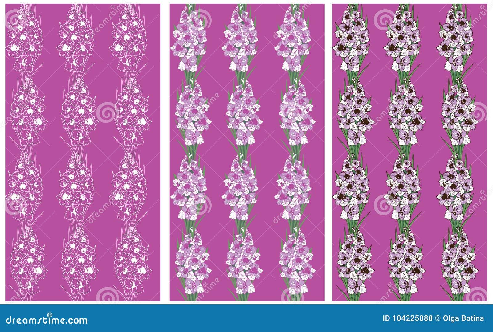 Bezszwowa deseniowa lawenda kwitnie gladiolusa