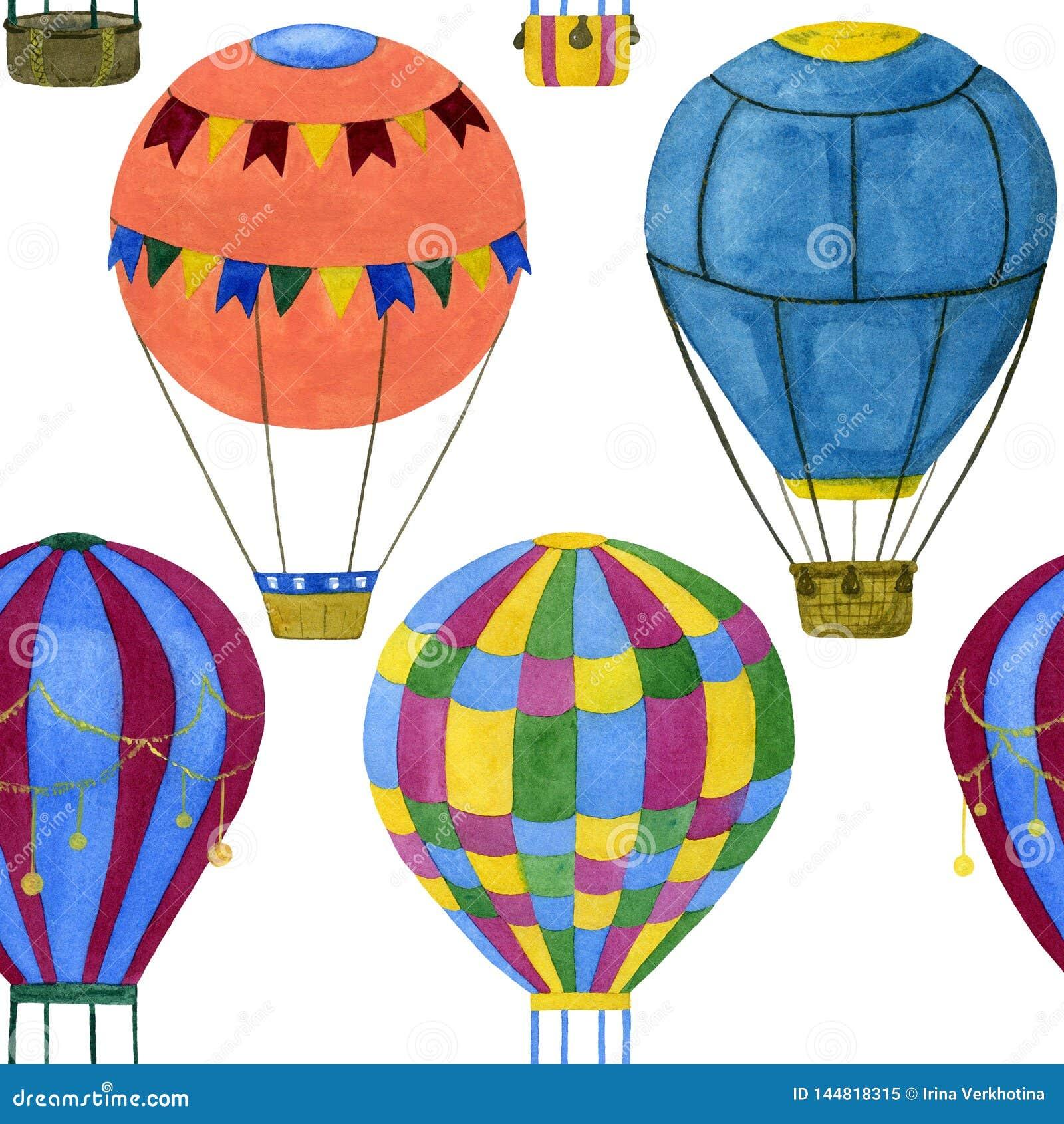 Bezszwowa ilustracja lotniczy balony