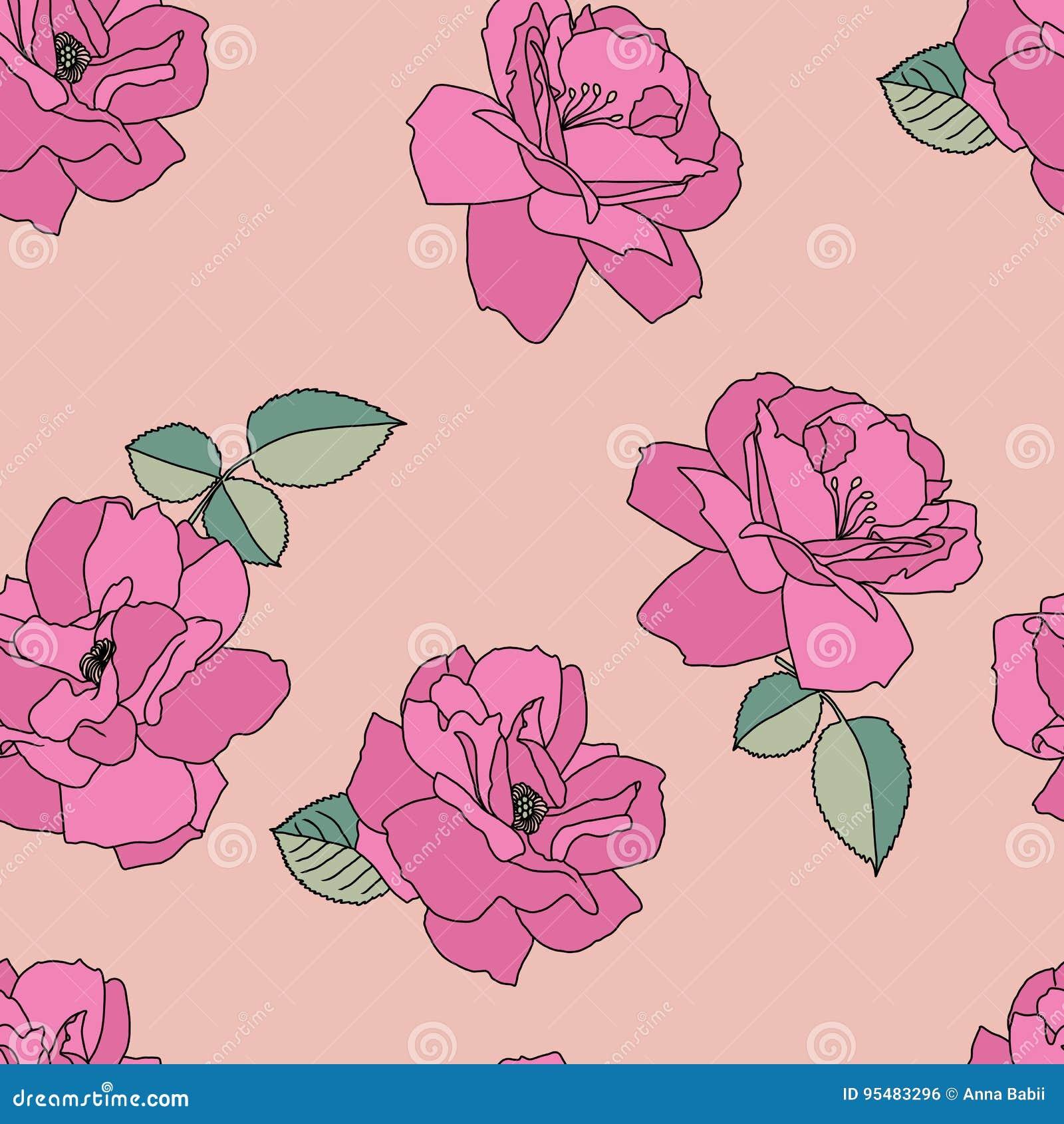 Bezszwowa menchii deseniowa róża kwiat światła playnig tło Okwitnięcie ilustracja