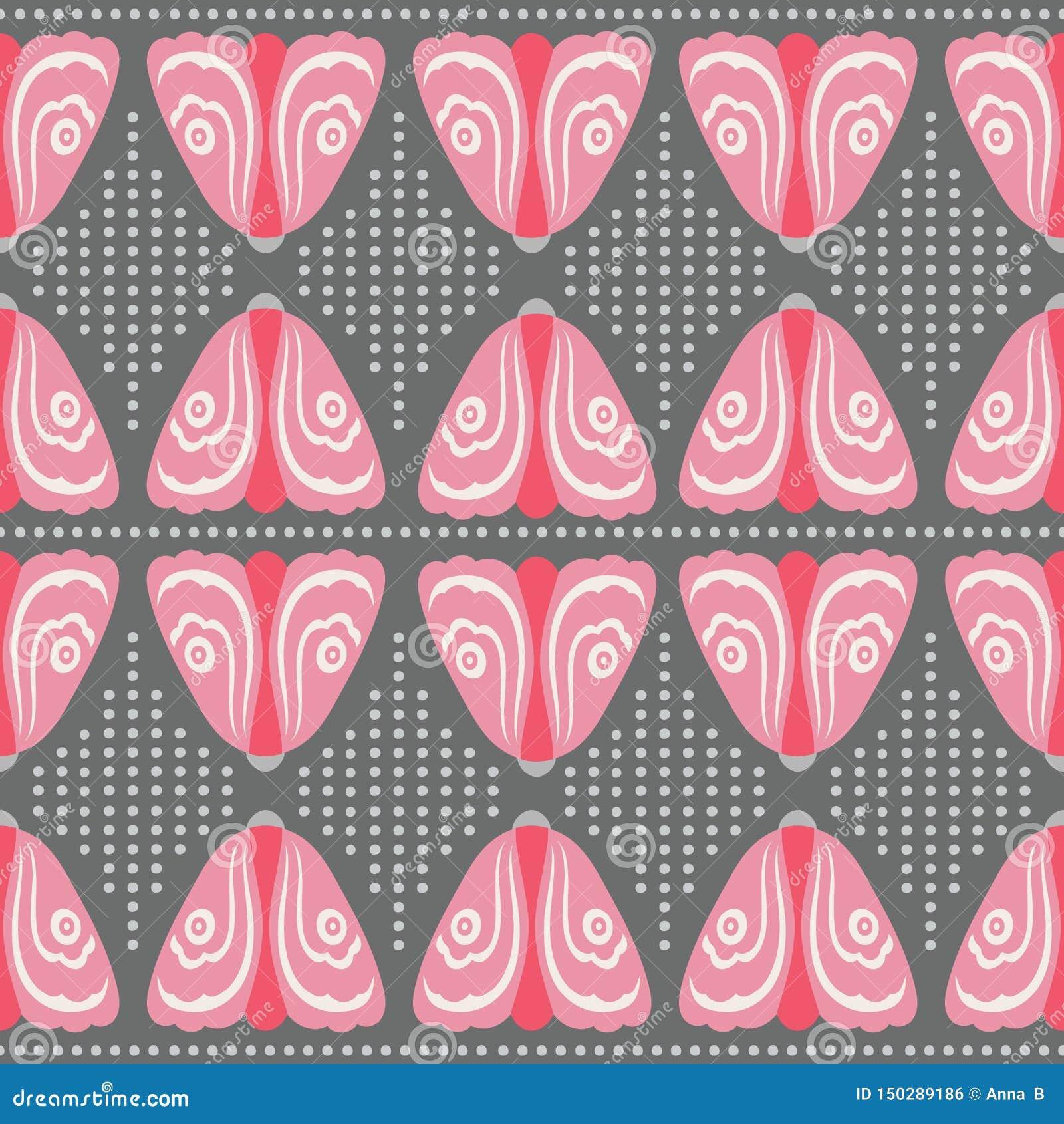 Bezszwowa różowa ćma i kropki powtórka deseniuje tło Dekoracyjny geometryczny wektorowy projekt